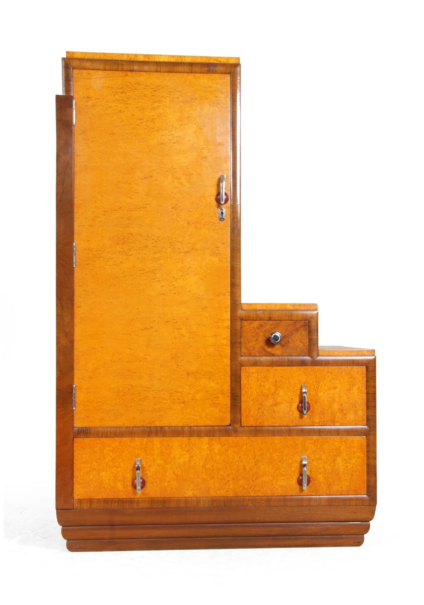 Art deco cabinet in karelian birch 1930s for sale at pamono for 1930s kitchen cabinets for sale
