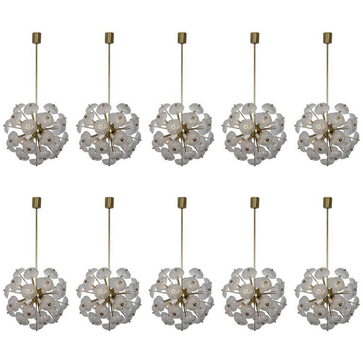 Sputnik christmas ornaments - Large Brass And Glass Sputnik Pendant 1960s