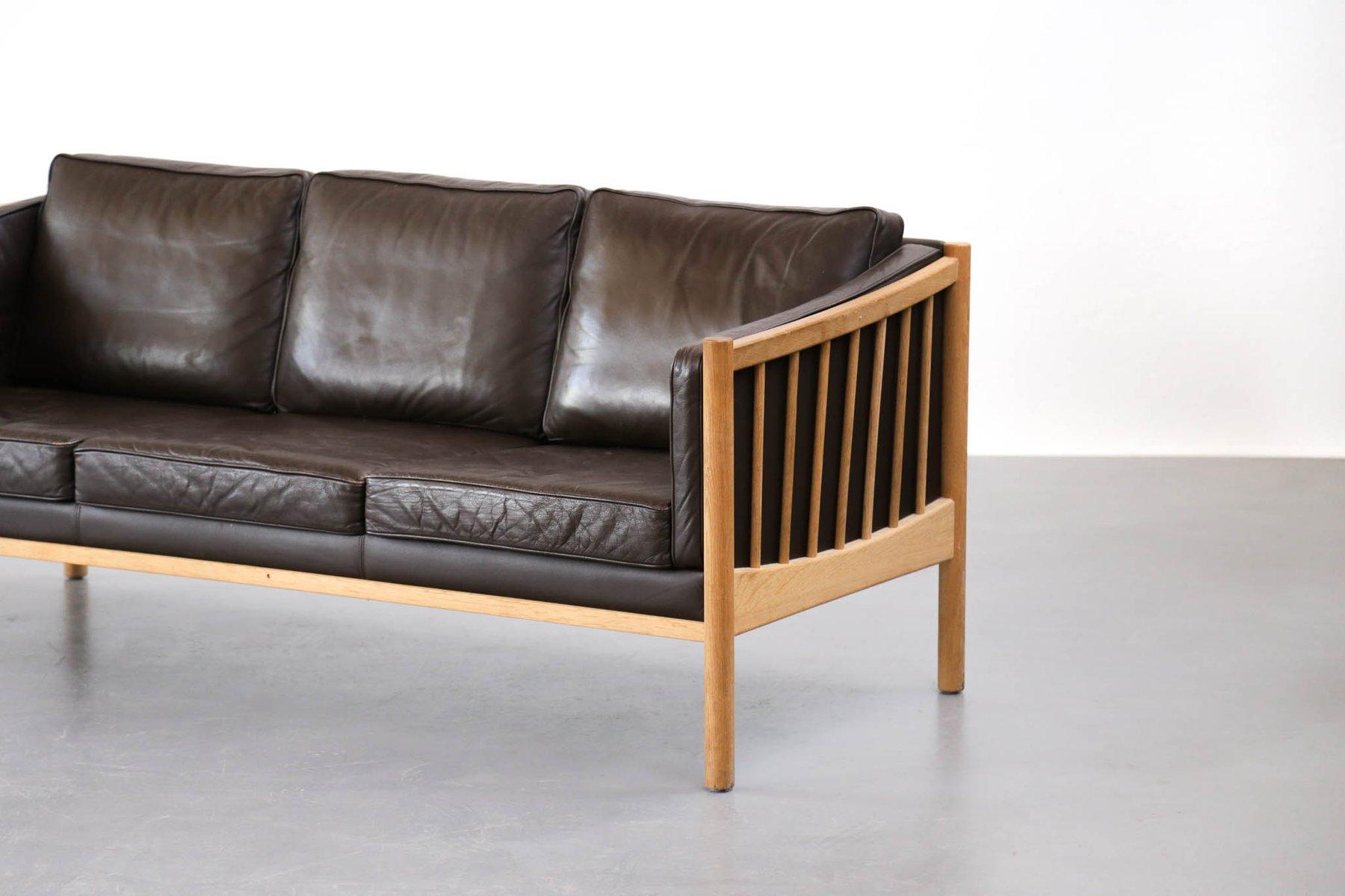 Canap mid century scandinave en cuir marron 1970s en for Canape en cuir marron