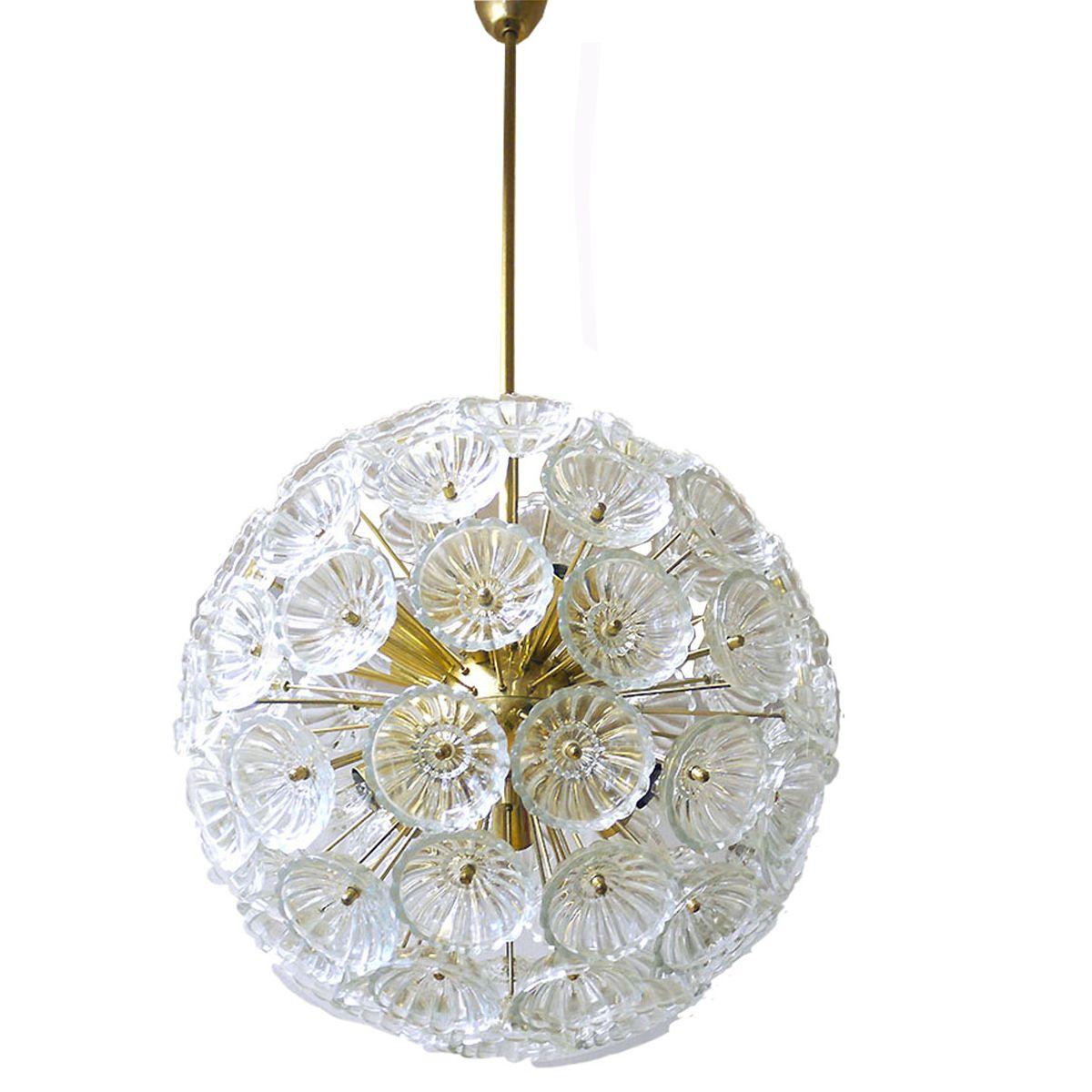 Sputnik christmas ornaments - Mid Century German Starburst Sputnik Chandelier With 79 Glass Flowers 1965