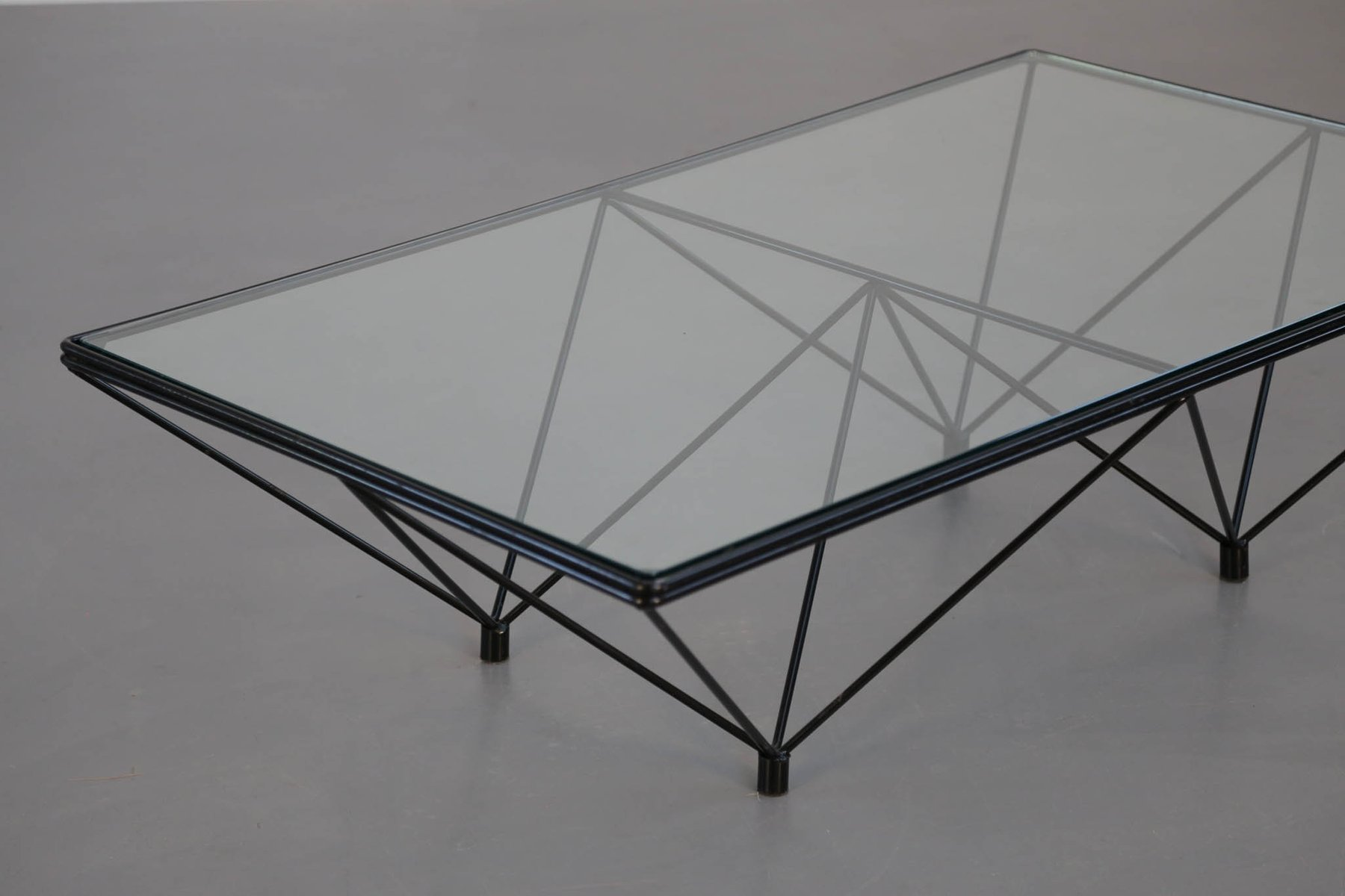 Vintage Geometric Glass Top Coffee Table for sale at Pamono