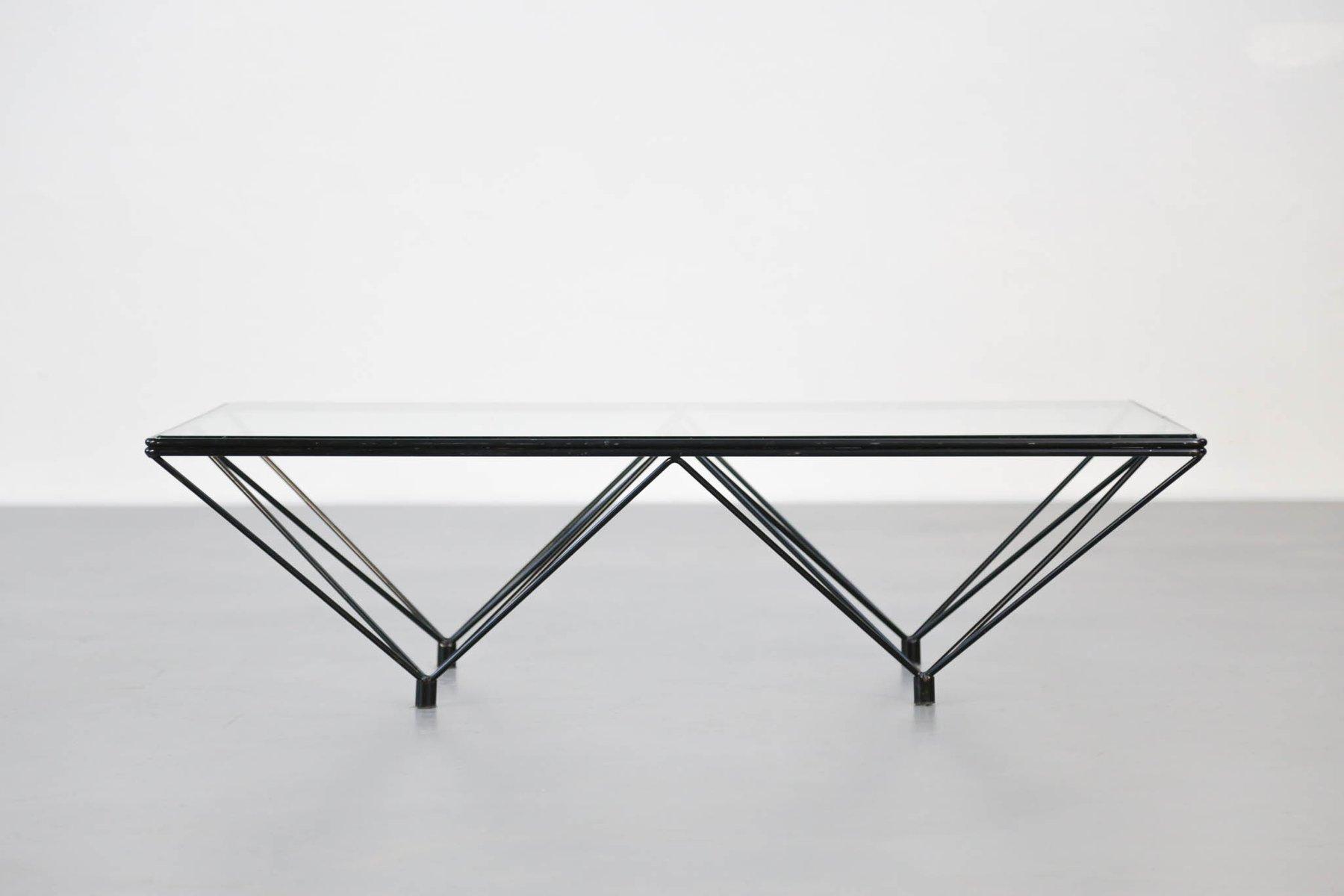 table basse vintage g om trique avec plateau en verre en vente sur pamono. Black Bedroom Furniture Sets. Home Design Ideas