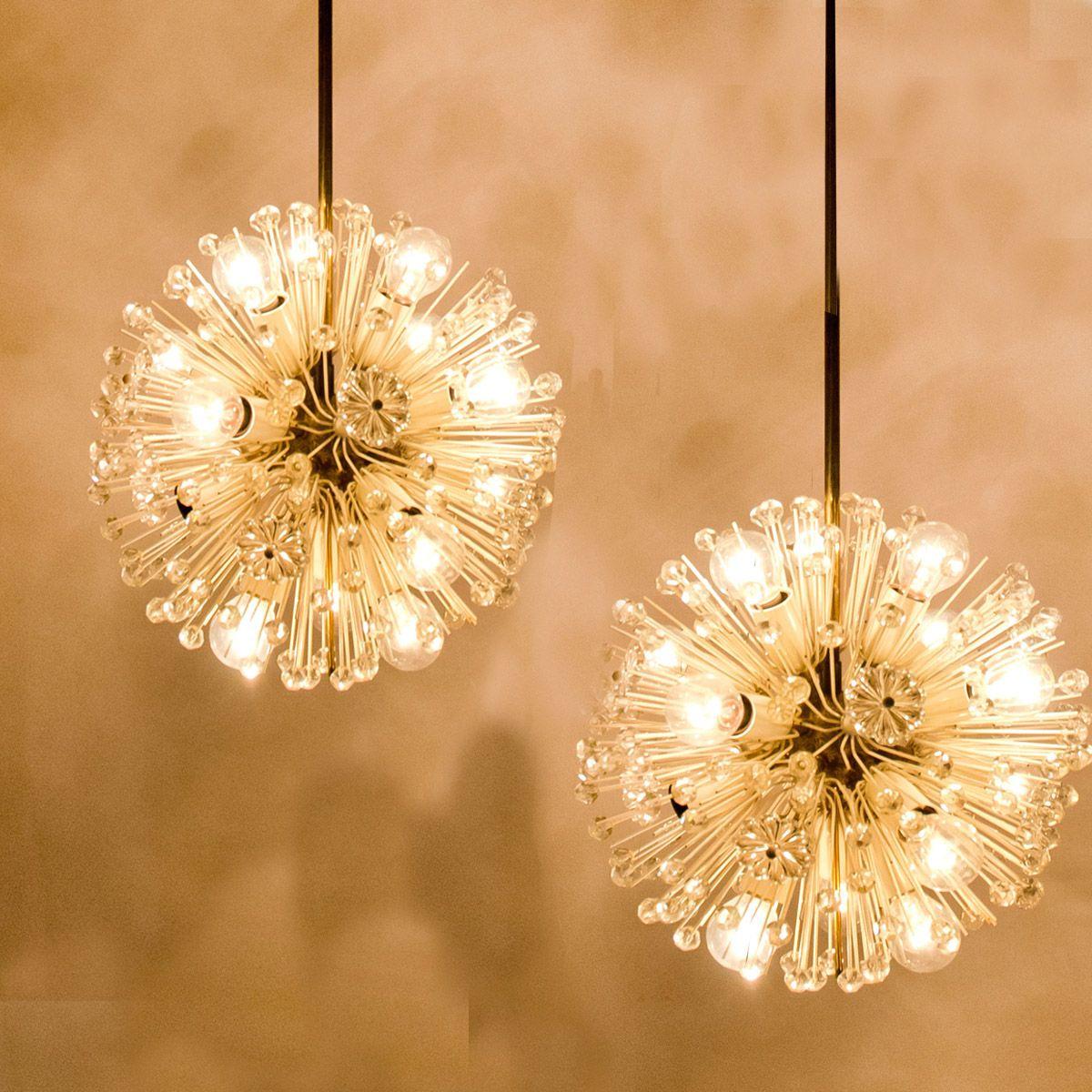 Sputnik christmas ornaments - Austrian Snowball Orbit Sputnik Ceiling Lights By Emil Stejnar For Rubert Nikoll 1950s Set Of 2