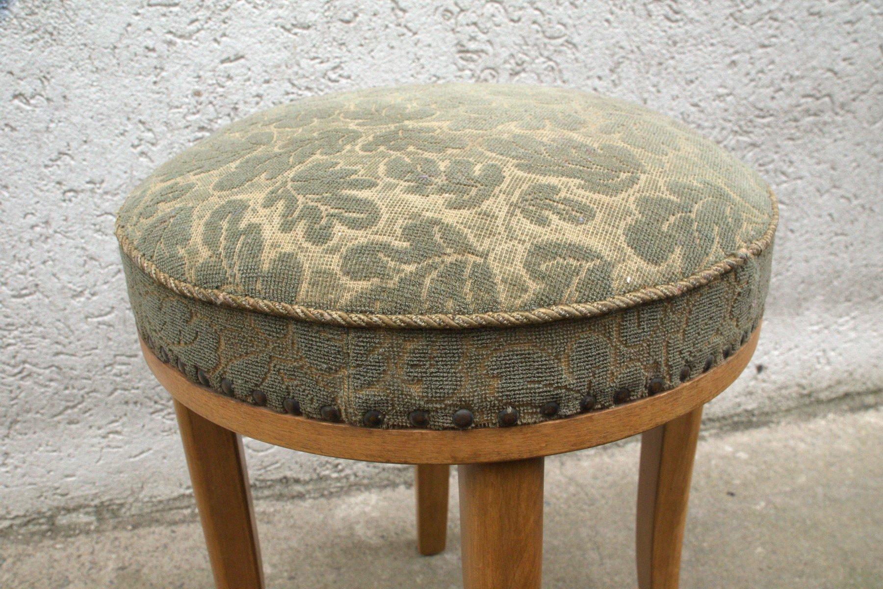 hocker aus hellem eichenholz mit floralem bezug 1950er bei pamono kaufen. Black Bedroom Furniture Sets. Home Design Ideas