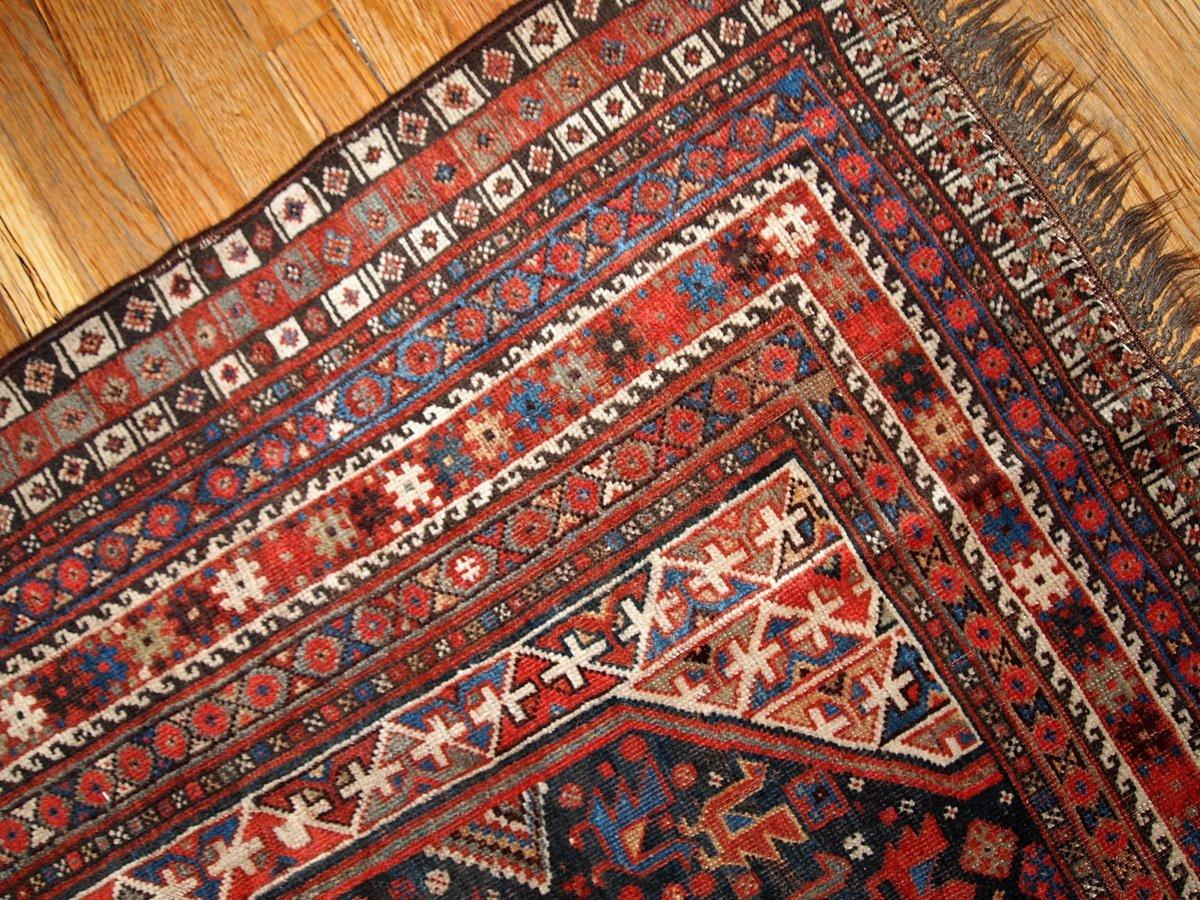 Antiker Persischer Handgeknüpfter Khamseh Teppich, 1880er