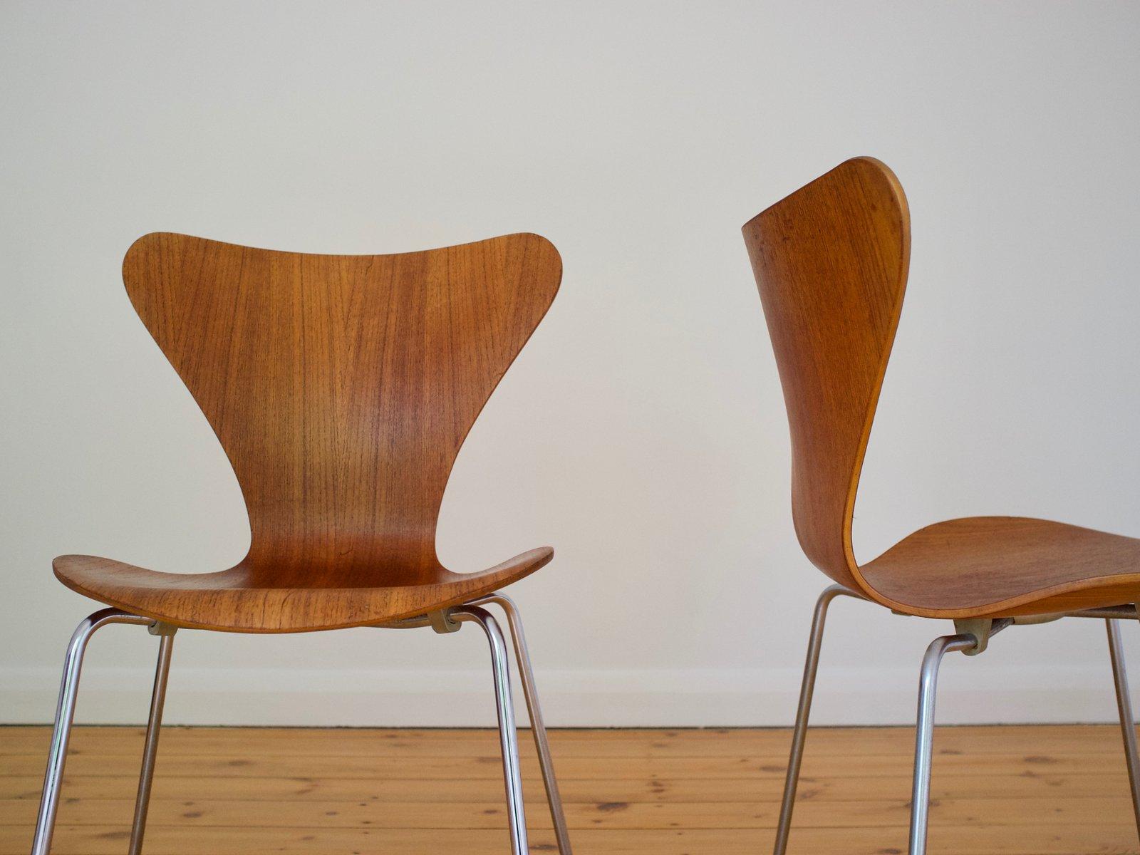 Danish 3107 Teak Chair by Arne Jacobsen for Fritz Hansen 1965 for