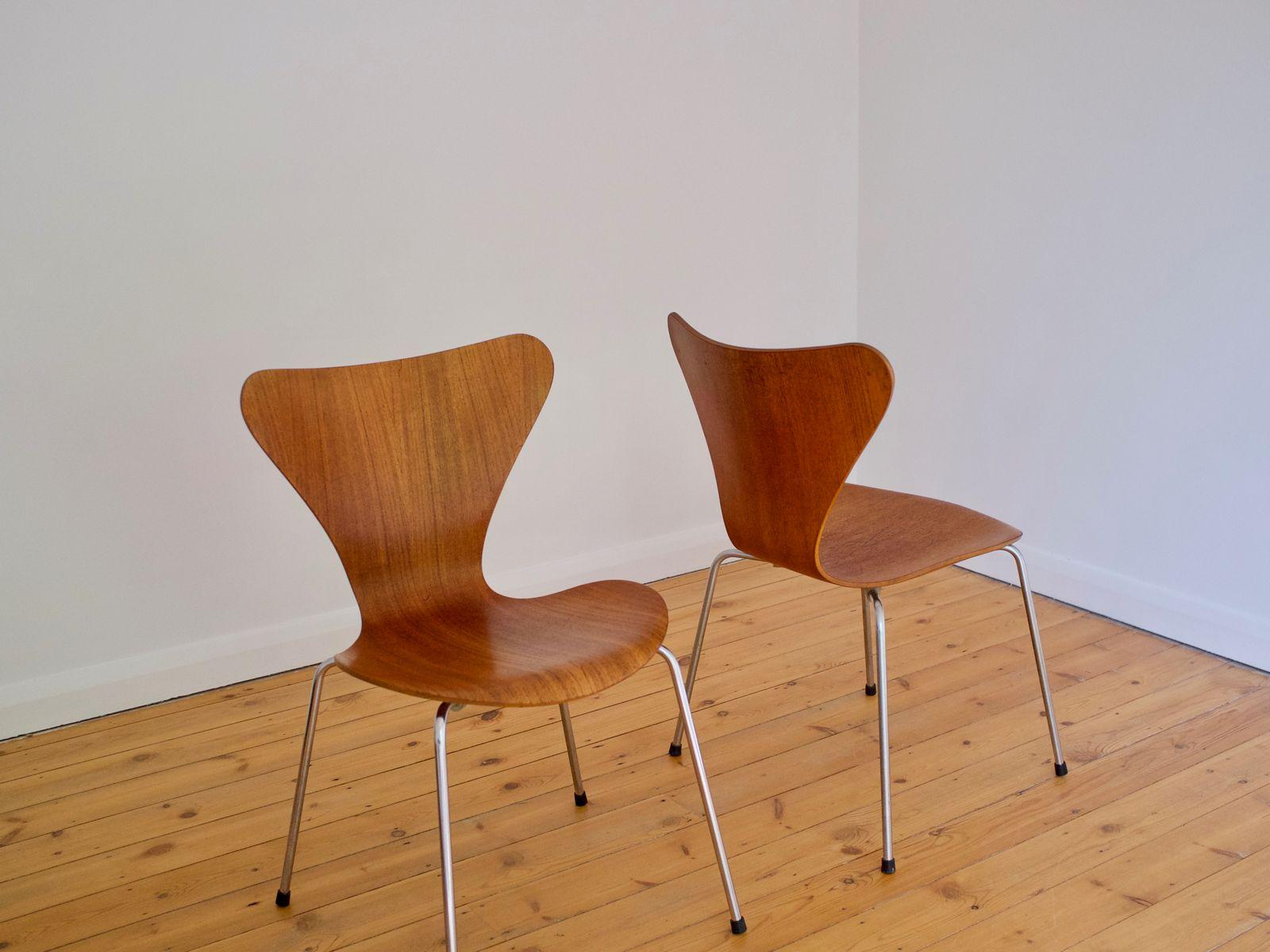 danish 3107 teak chair by arne jacobsen for fritz hansen. Black Bedroom Furniture Sets. Home Design Ideas