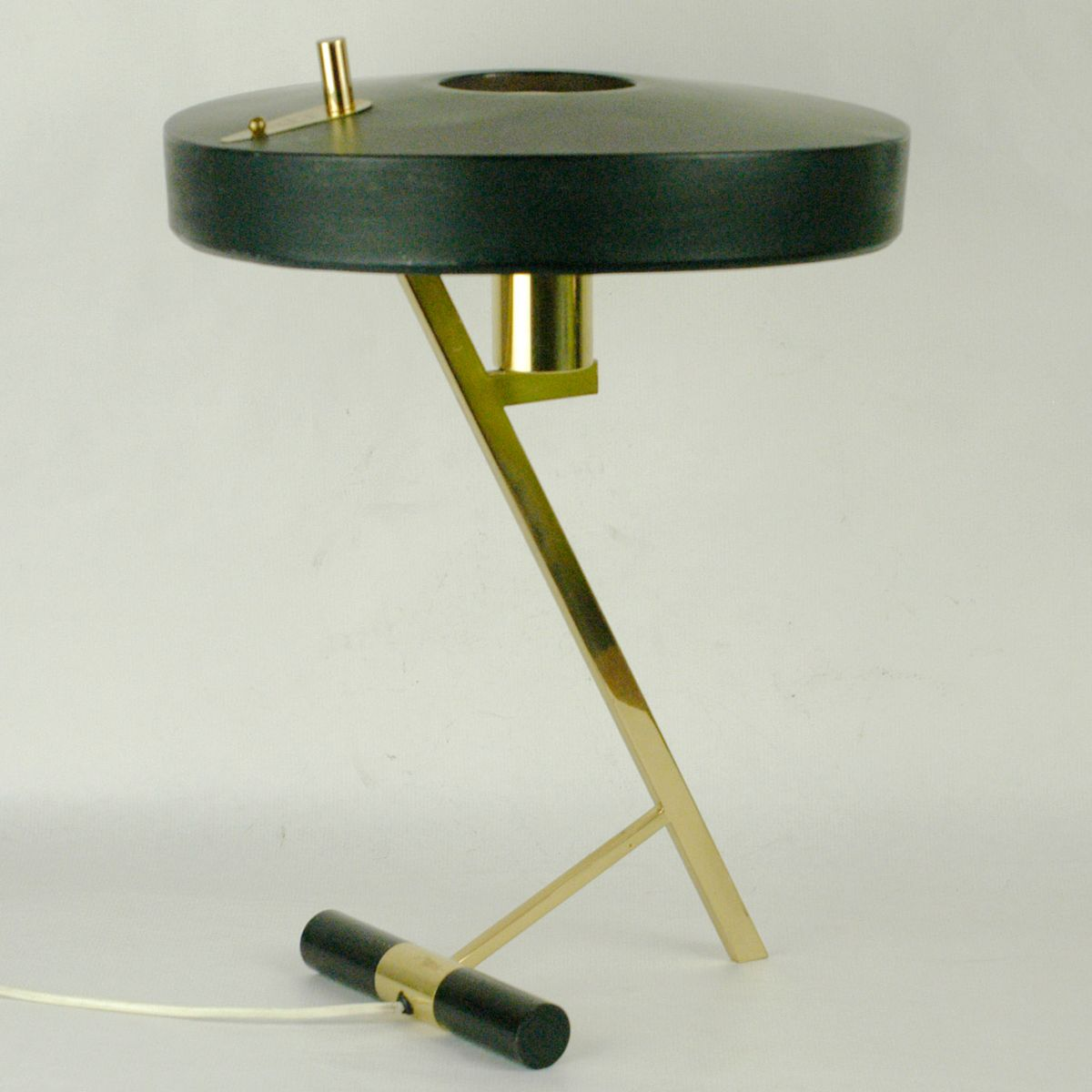 mid century black and brass table lamp by louis kalff for. Black Bedroom Furniture Sets. Home Design Ideas