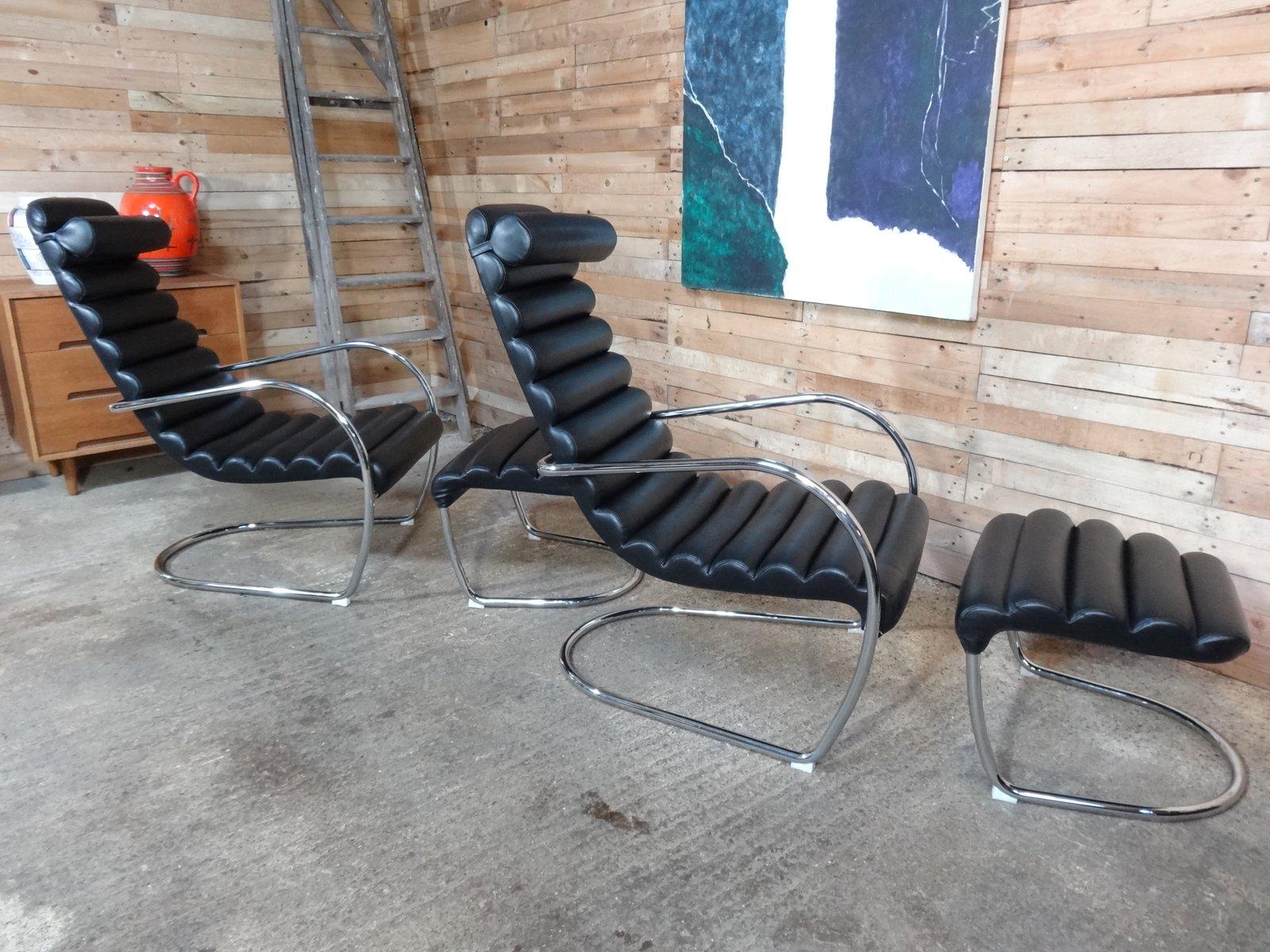 italienischer metallgestell und leder stuhl mit ottoman 1980er bei pamono kaufen. Black Bedroom Furniture Sets. Home Design Ideas