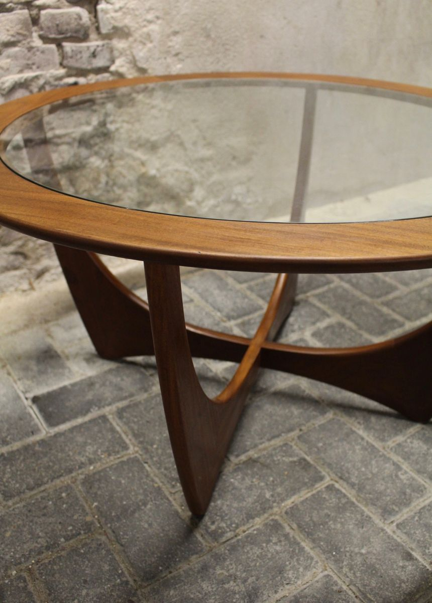 mid-century teak and glass round astro coffee tablevictor