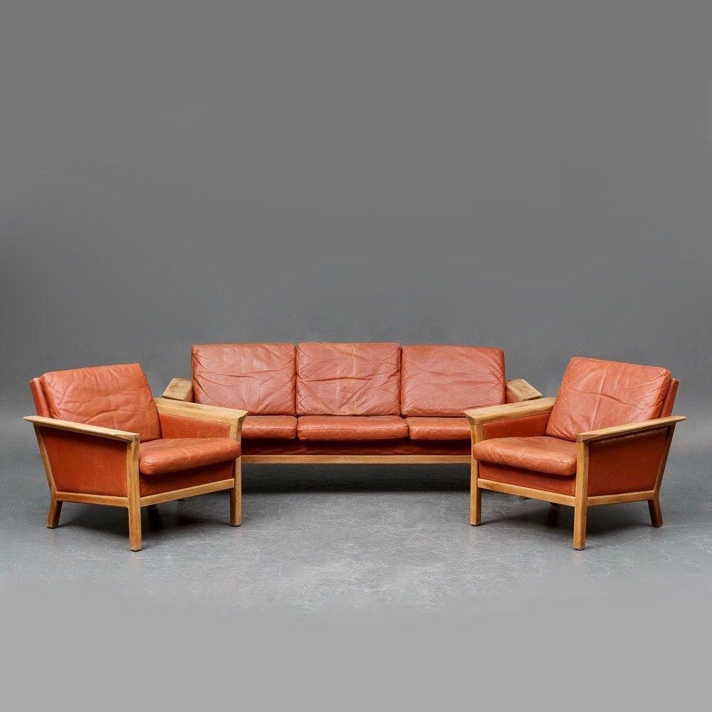 Leather Living Room Sets Vintage Danish Leather Living Room Set From Jeki Mobler For Sale