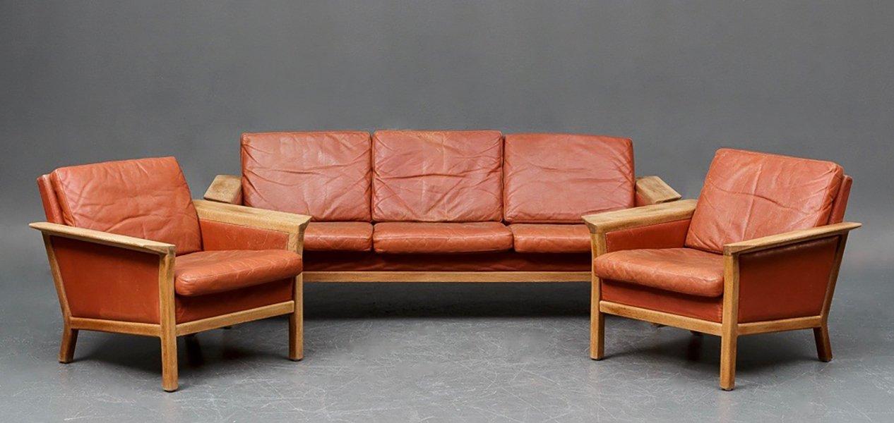 Vintage Danish Leather Living Room Set From Jeki Mobler Part 69