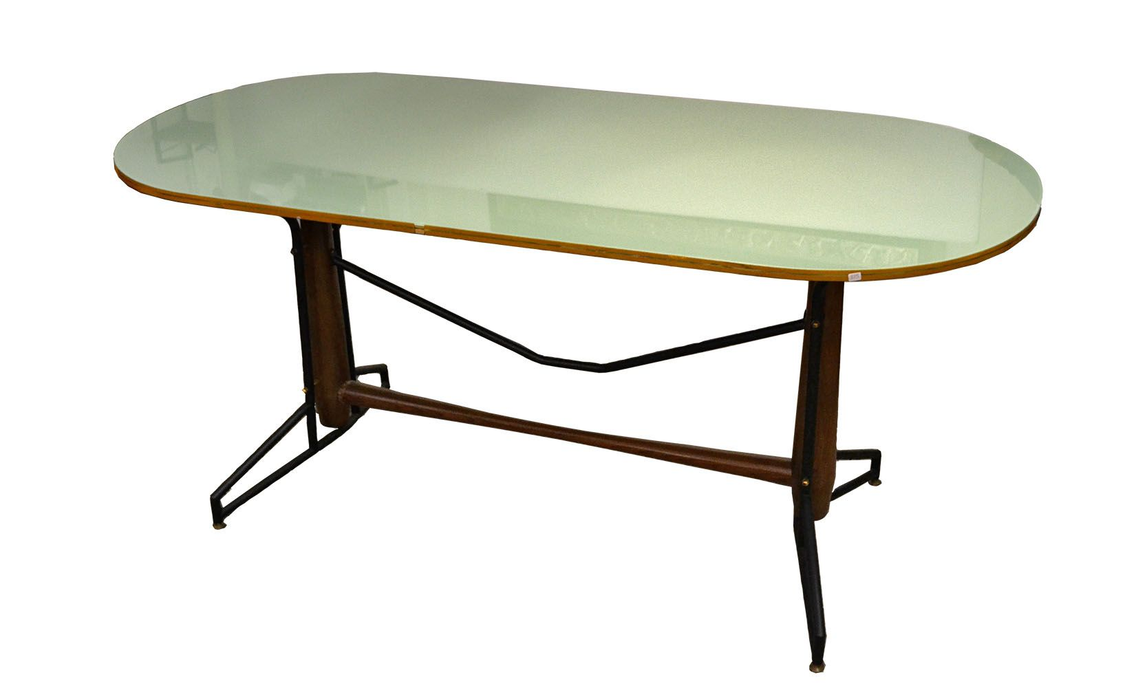 Mid century metal wood and painted glass dining table for Glass and wood dining table