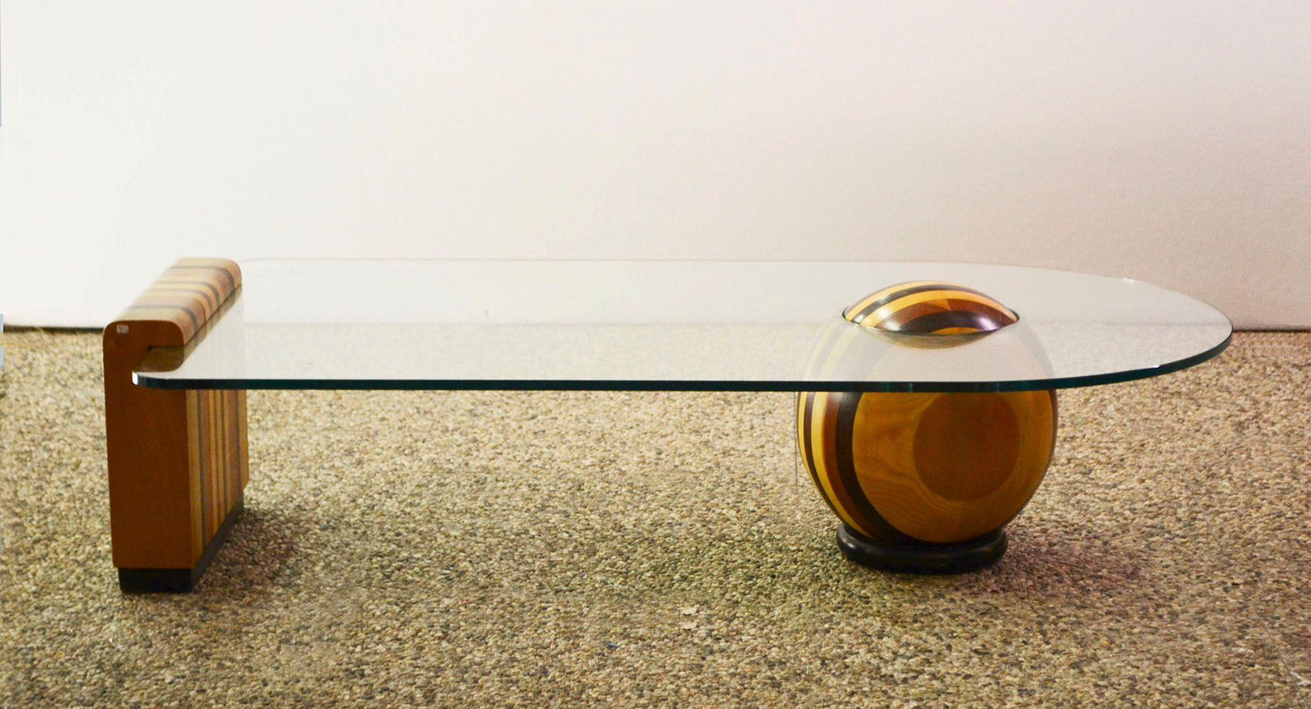 Italian Wood And Crystal Coffee Table With Ball 1970s For