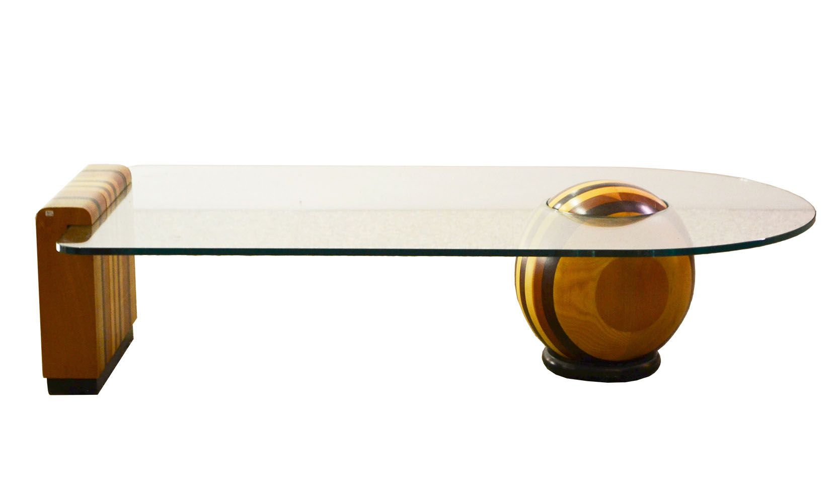 italienischer couchtisch aus holz kristall mit kugel. Black Bedroom Furniture Sets. Home Design Ideas