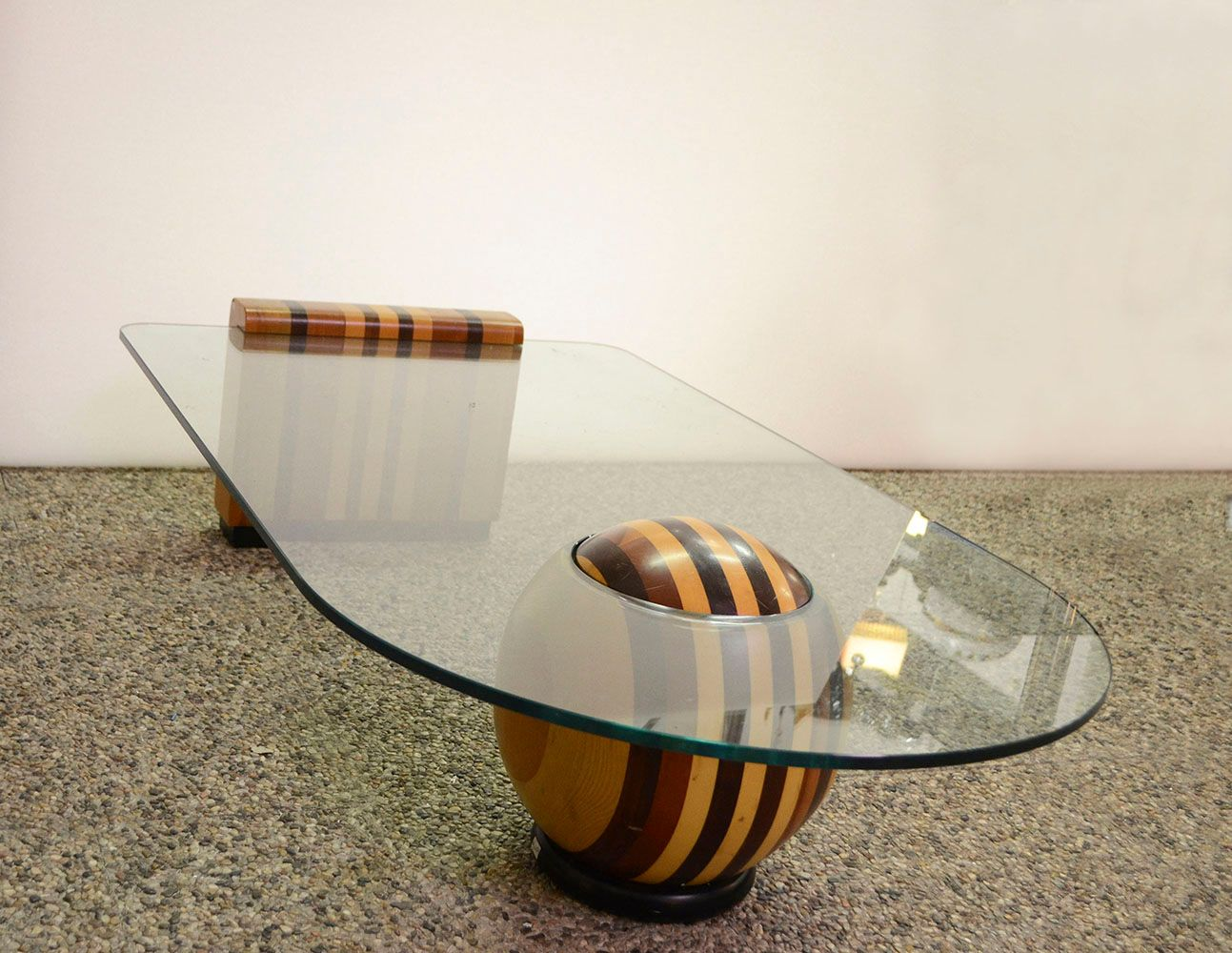 italian wood and crystal coffee table with ball, 1970s for sale at