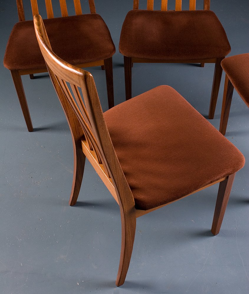 Vintage fresco solid teak dining chairs from g plan set for G plan teak dining room chairs