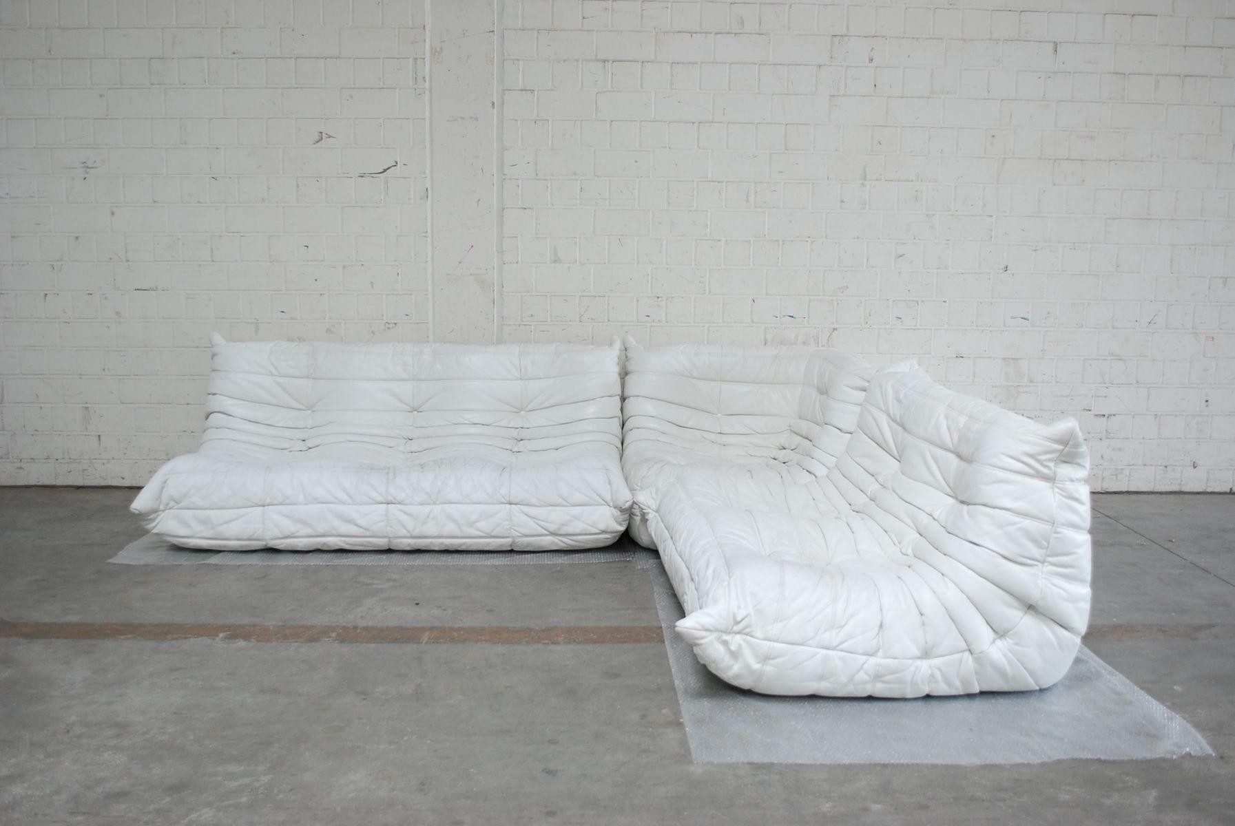 white togo modular leather sofa from ligne roset for sale. Black Bedroom Furniture Sets. Home Design Ideas