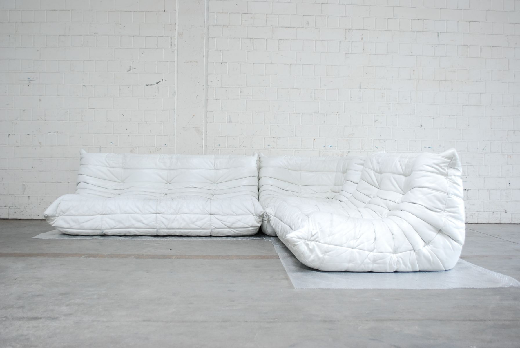 White Togo Modular Leather Sofa from Ligne Roset for sale at Pamono