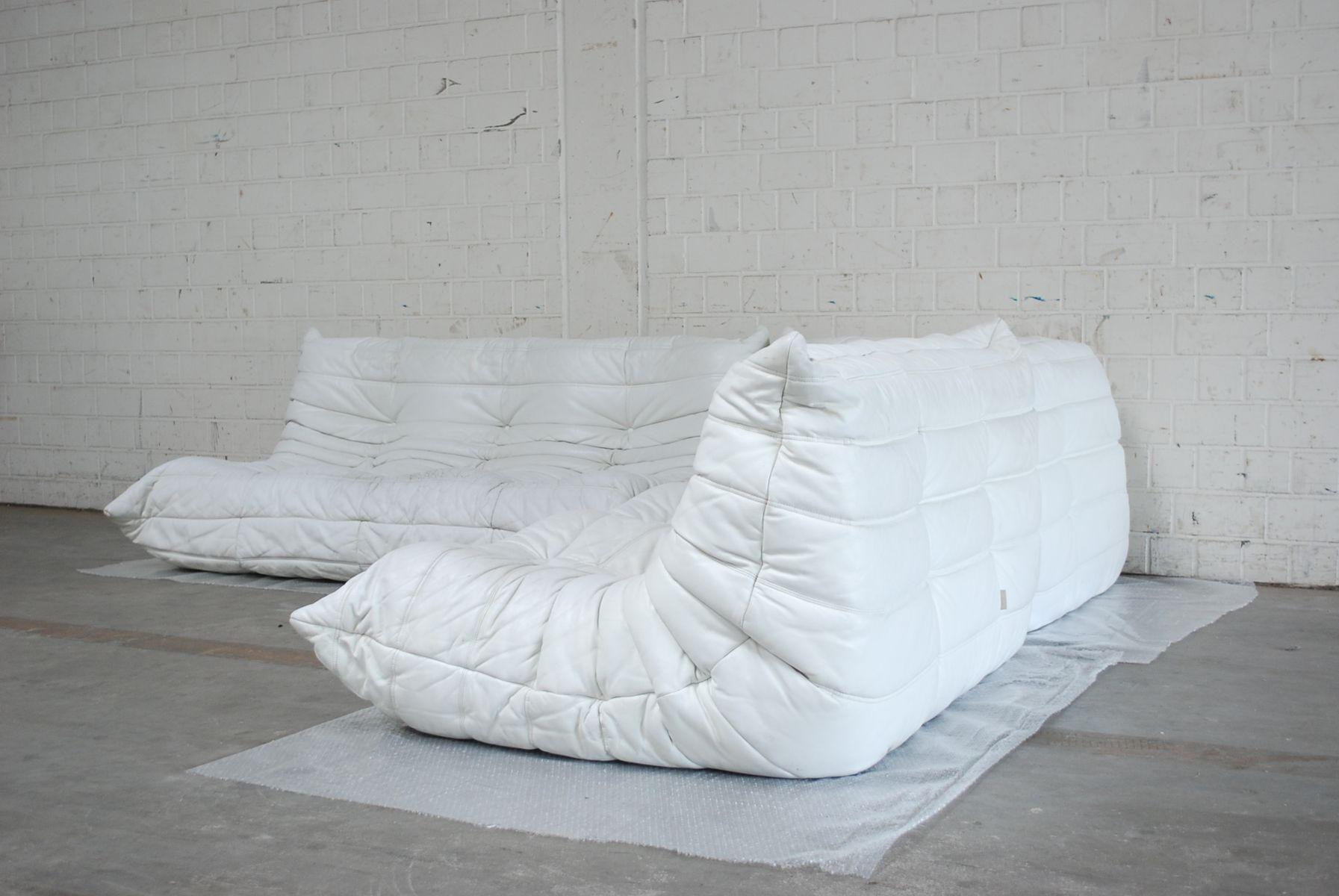 Canap modulaire blanc togo en cuir de ligne roset en vente sur pamono - Canape ligne roset solde ...