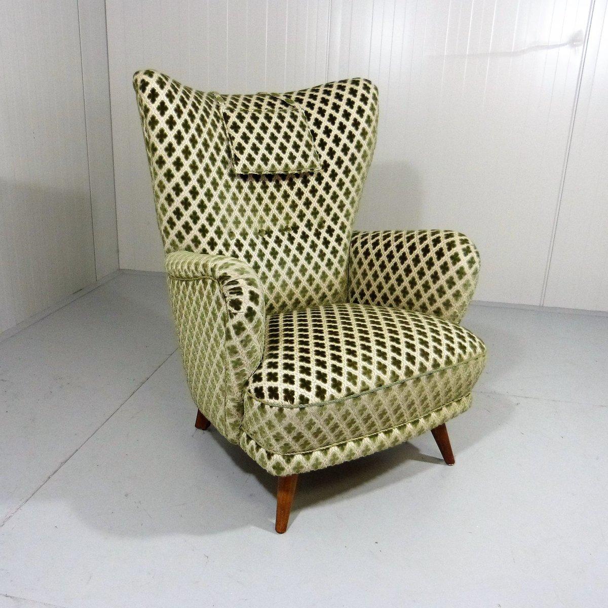 vintage velours ohrensessel 1950er bei pamono kaufen. Black Bedroom Furniture Sets. Home Design Ideas