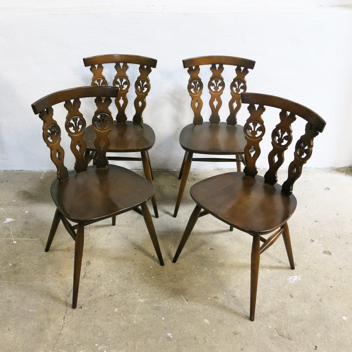windsor st hle von lucian ercolani f r ercol 1960er 4er. Black Bedroom Furniture Sets. Home Design Ideas
