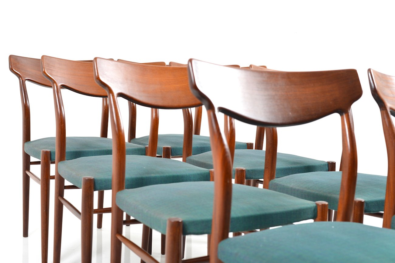 mid century teak dining chairs from lübke set of 8 for sale at pamono