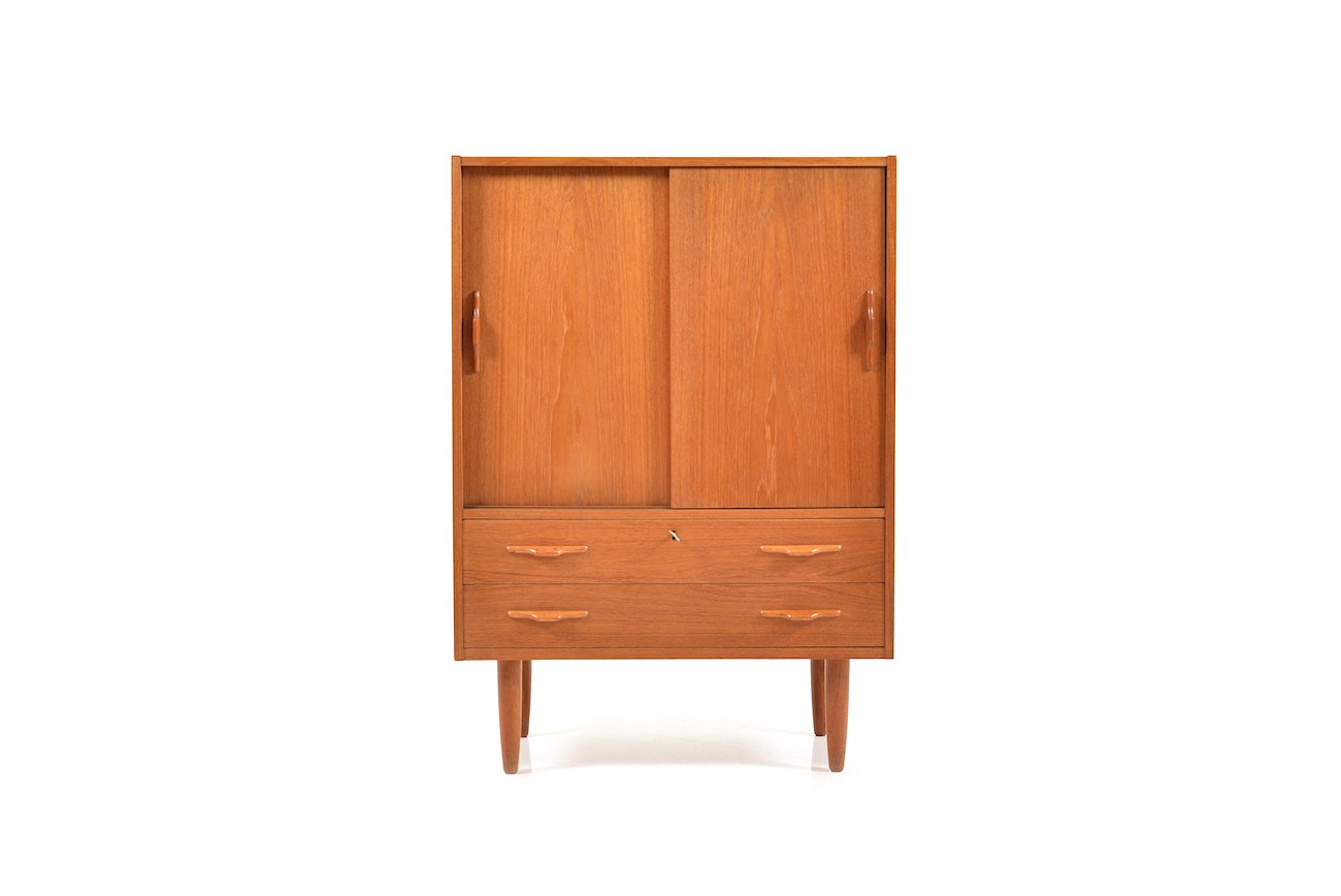 danish teak cabinet with sliding doors 1950s for sale at pam