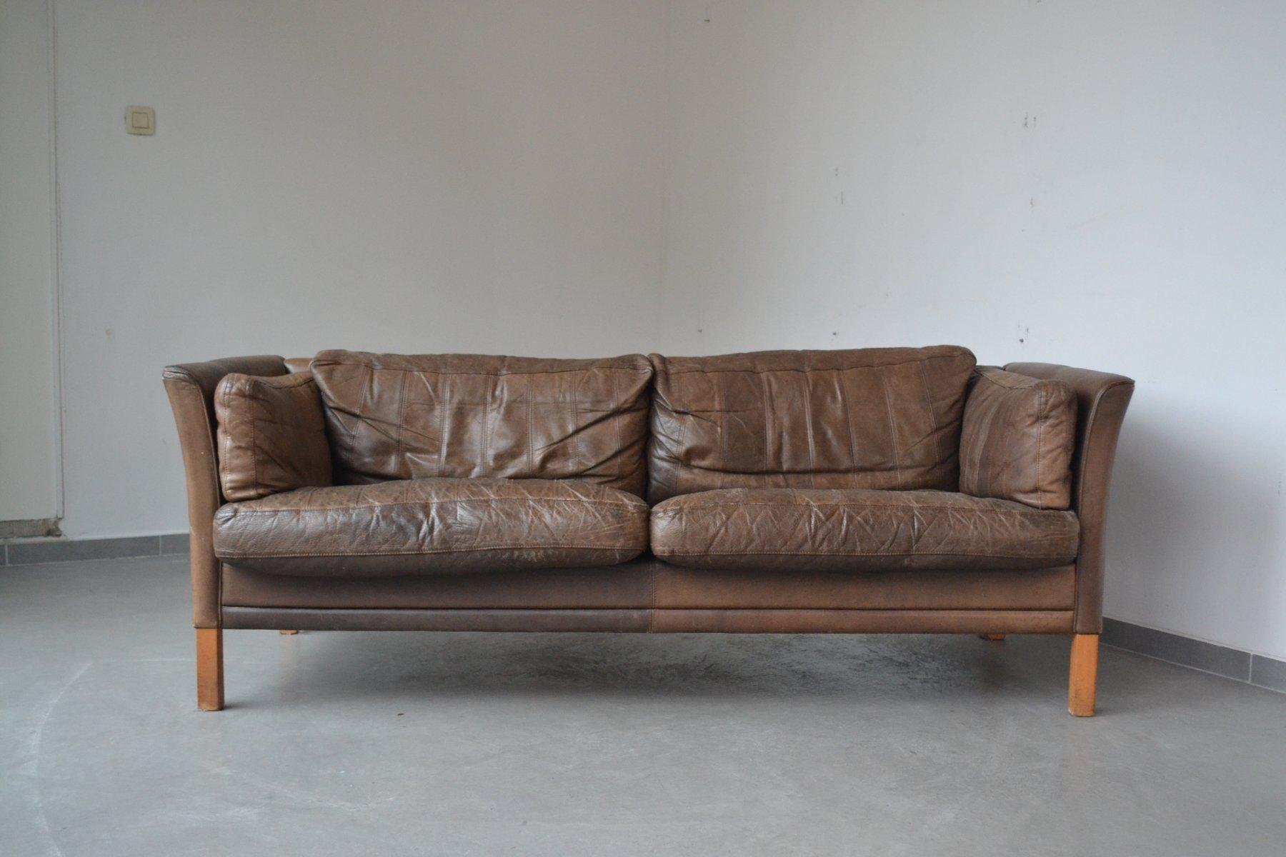 braunes 3 sitzer sofa von mogens hansen 1960er bei pamono. Black Bedroom Furniture Sets. Home Design Ideas