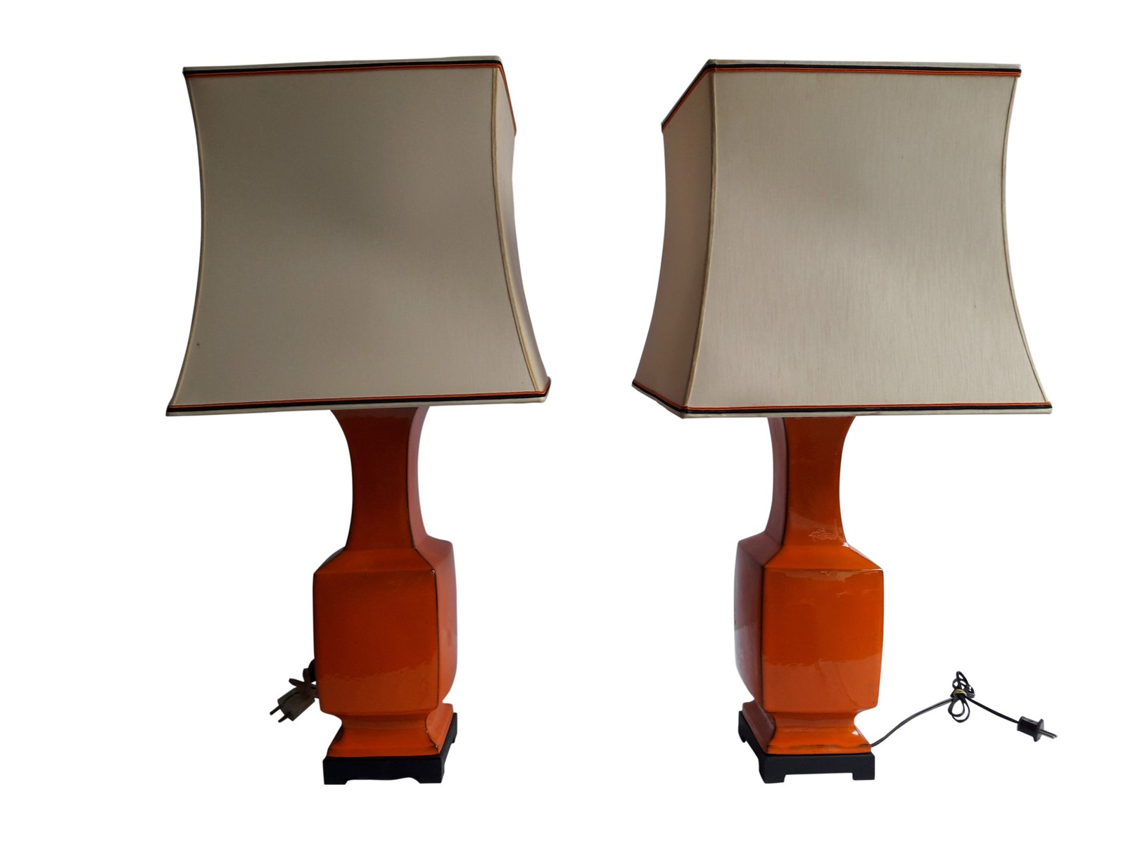 Vintage Orange Porcelain Table Lamps Set Of 2 For Sale At