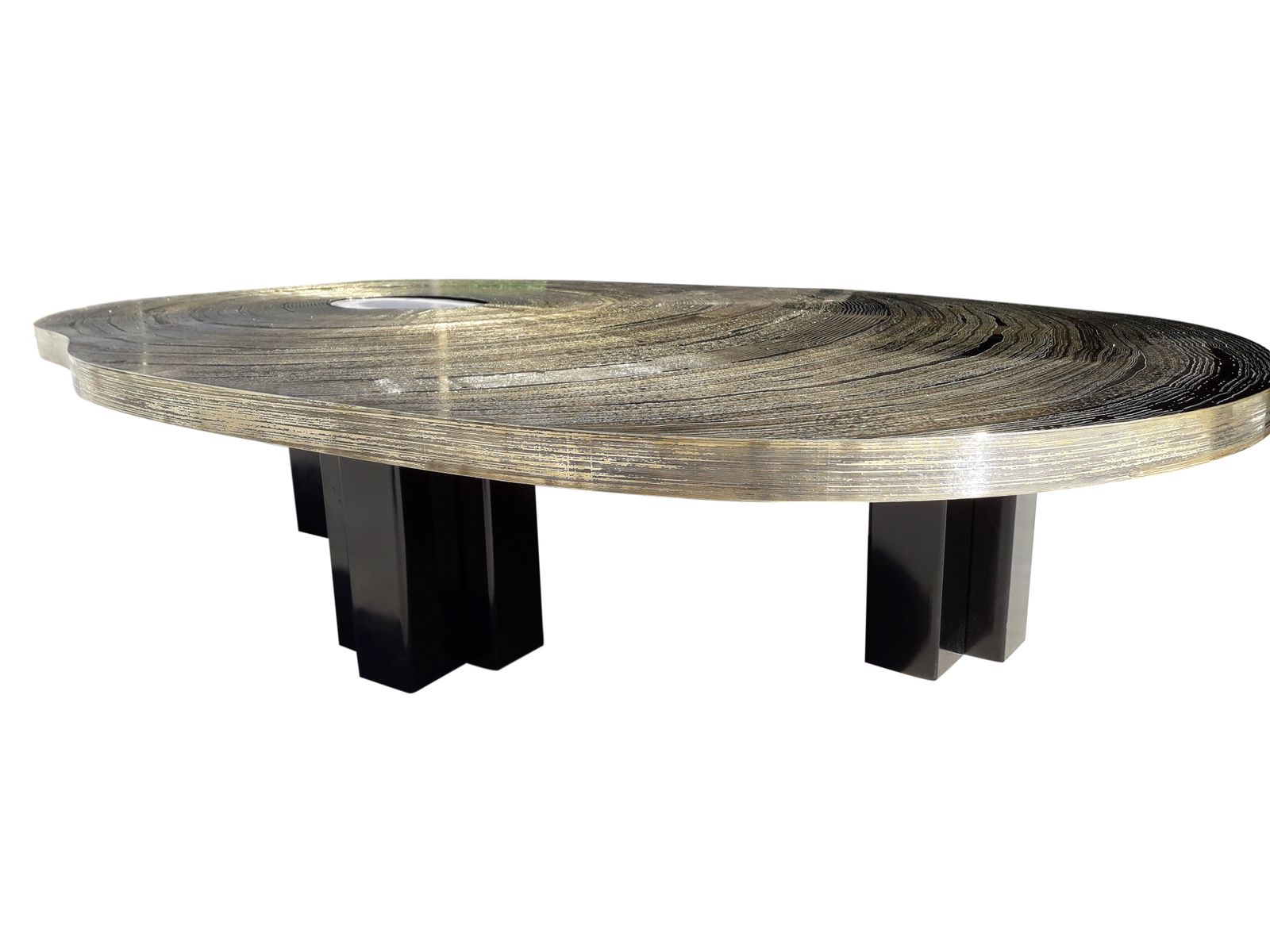 Vintage Brass Etched Coffee Table by Christian Krekels 1970s for