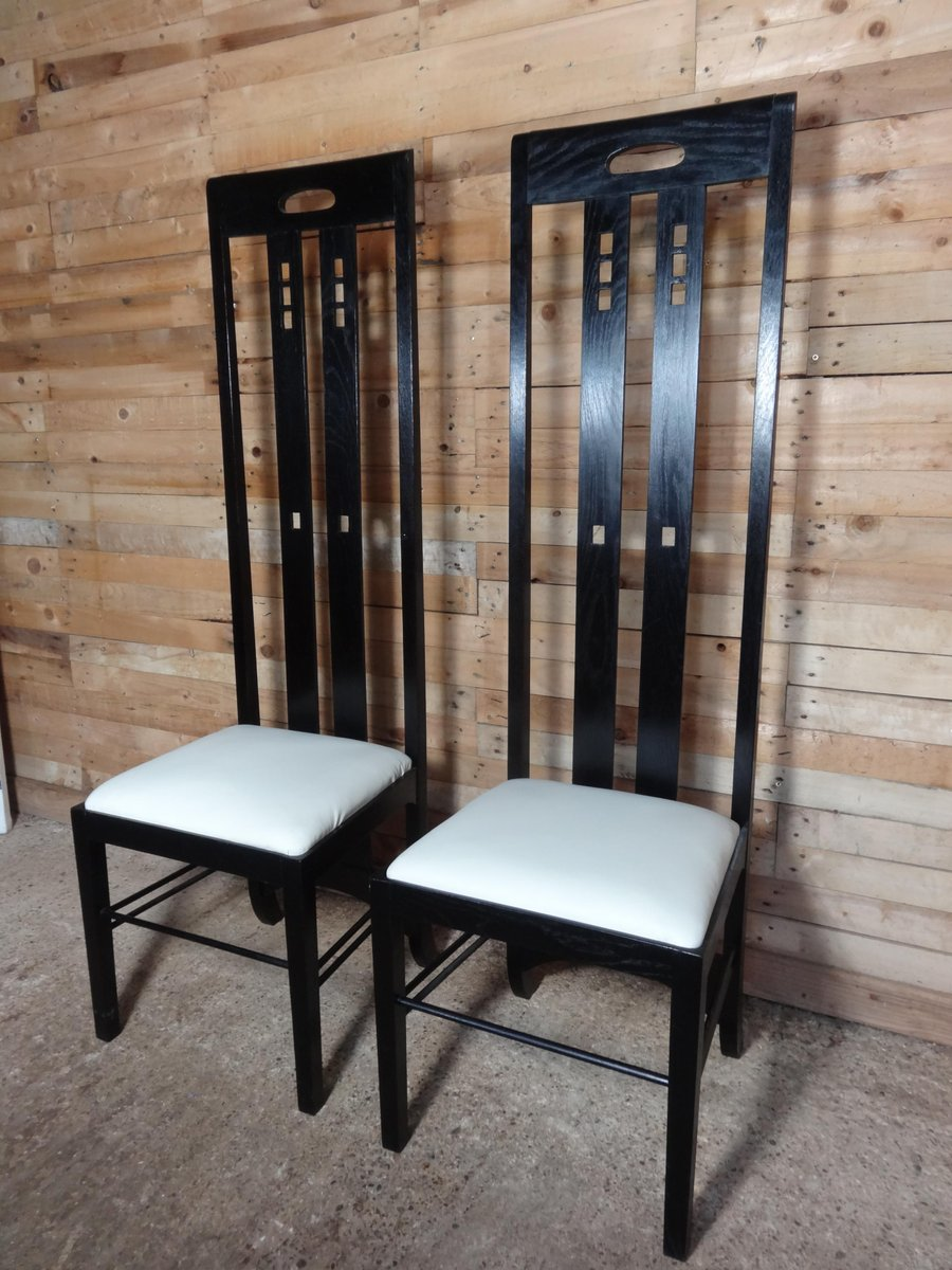 chaise art nouveau laqu e noir haut dossier par charles rennie mackintosh en vente sur pamono. Black Bedroom Furniture Sets. Home Design Ideas