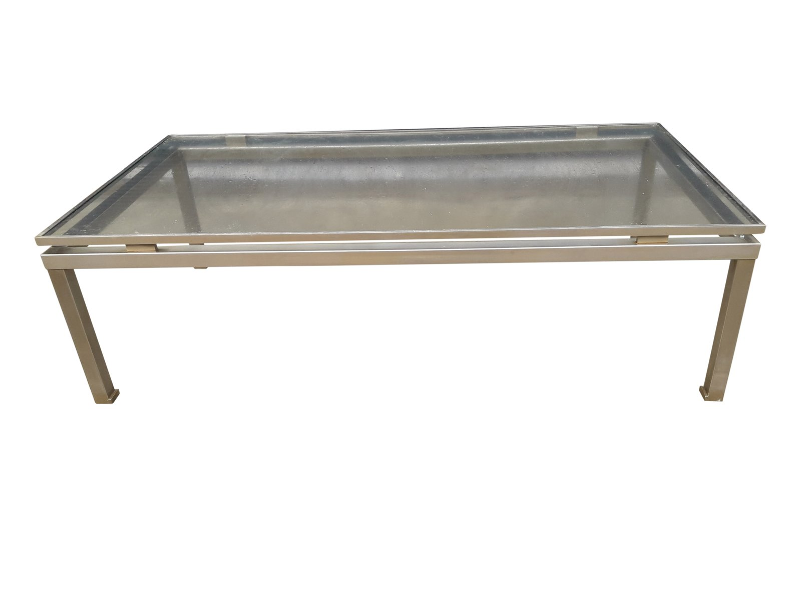 Modernist Brushed Steel Coffee Table By Guy Lefevre For Maison Jansen For Sale At Pamono