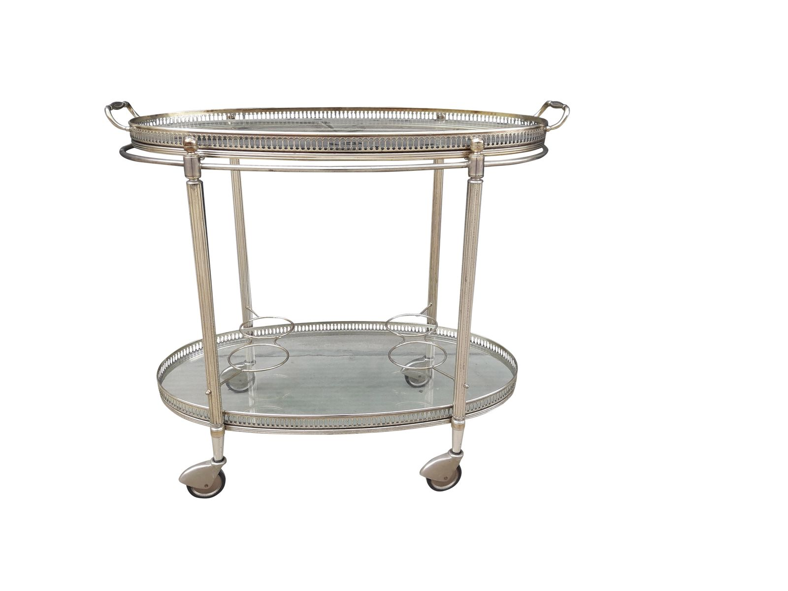 midcentury modern chromed drinks trolley