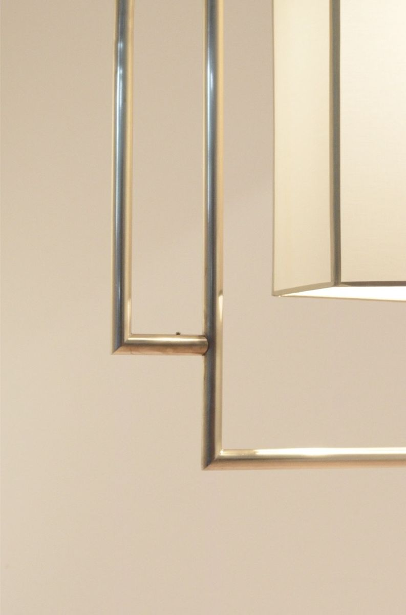 gro e franz sische art deco deckenlampe aus messing stoff bei pamono kaufen. Black Bedroom Furniture Sets. Home Design Ideas
