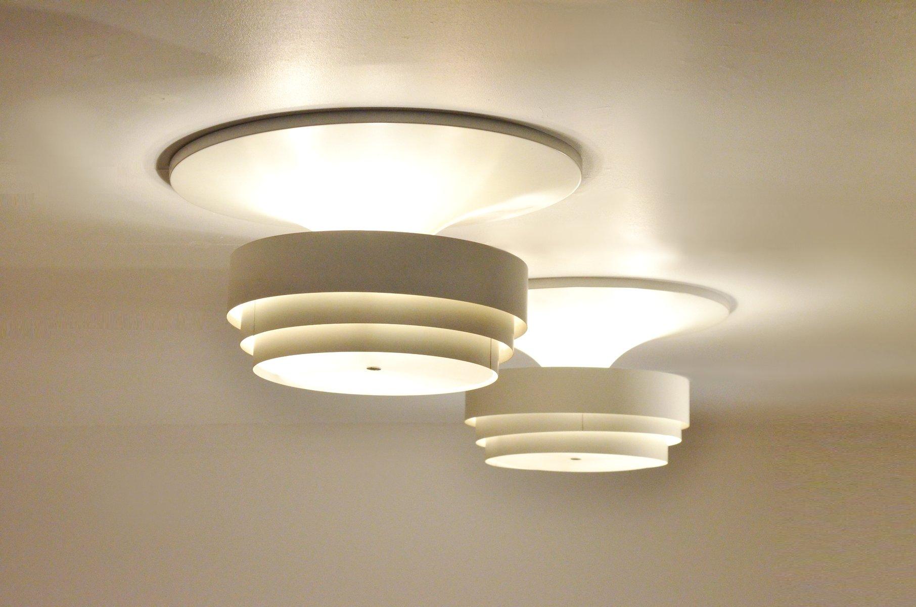 gro e wei e metall deckenlampe von hans agne jakobsson f r. Black Bedroom Furniture Sets. Home Design Ideas