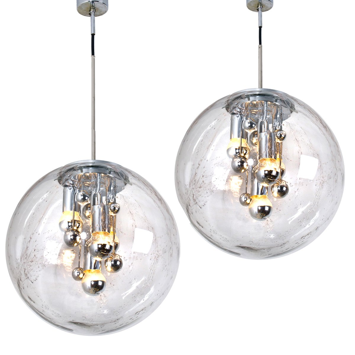 Large Hand Blown Bubble Glass Pendant Light From Doria
