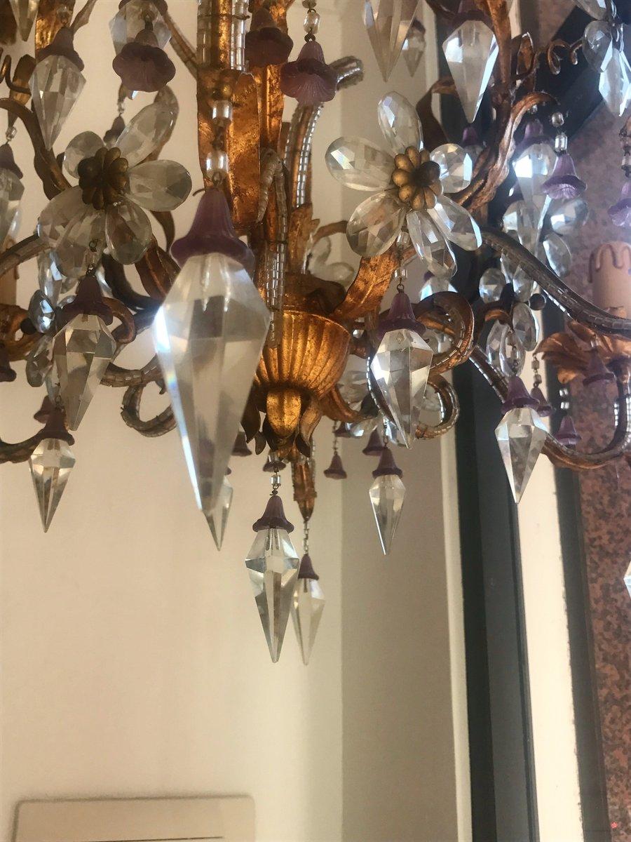 Lampadario vintage in cristallo e vetro di murano anni for Lampadario vintage