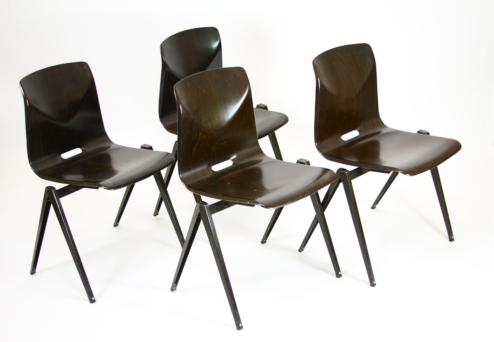 Vintage Belgian Industrial Chairs 1970s Set of 4 for sale at Pamono