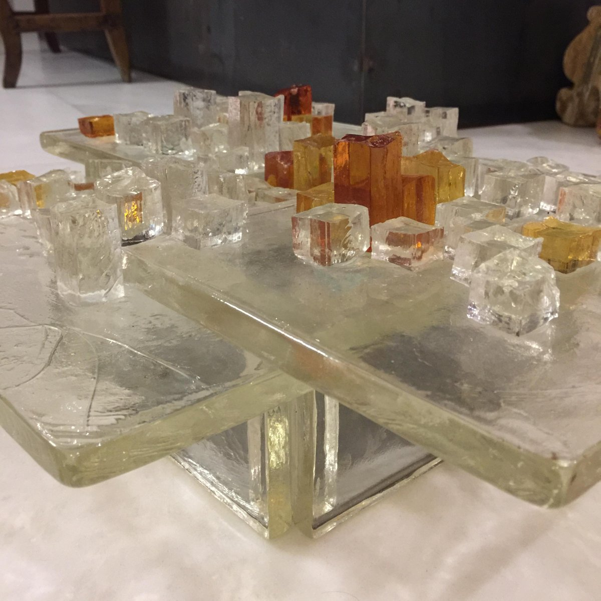 Vintage Large Italian Glass Lighting Panel From Poliarte
