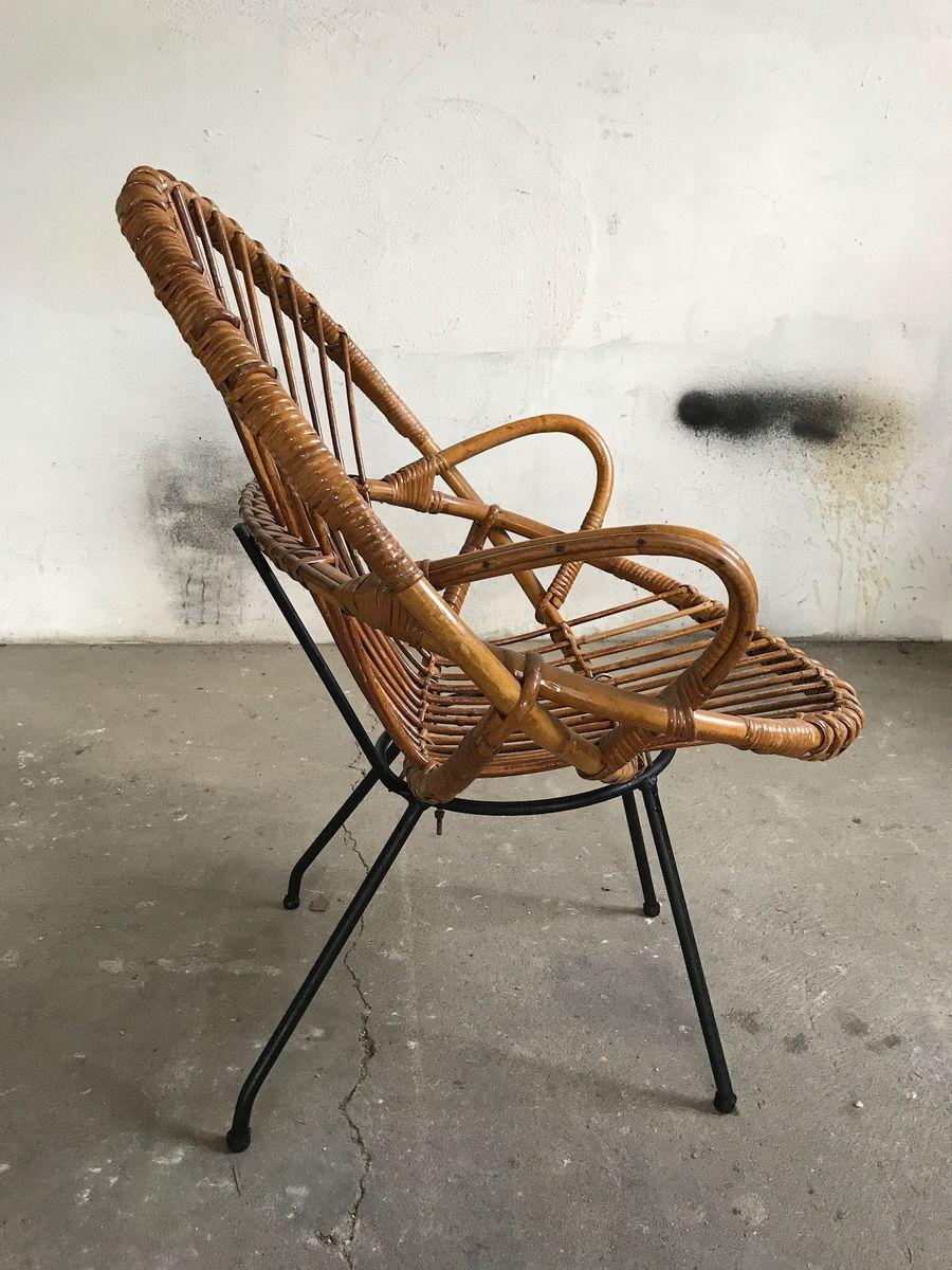 runder franz sischer rattan stuhl 1950er bei pamono kaufen. Black Bedroom Furniture Sets. Home Design Ideas