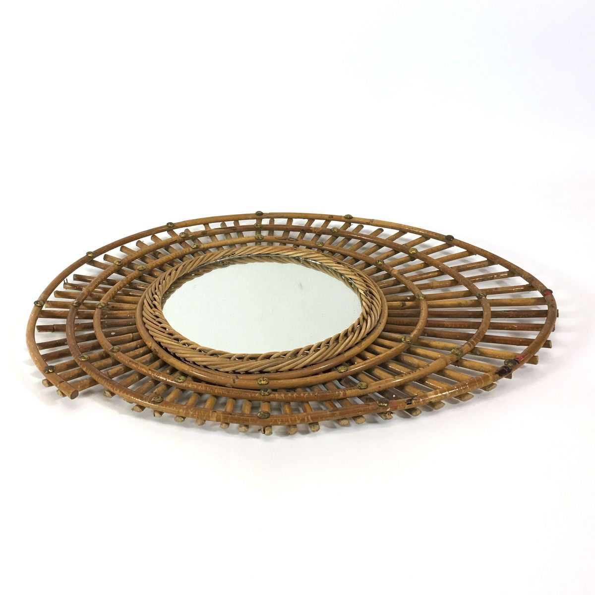 franz sischer vintage spiegel mit rahmen aus bambus bei. Black Bedroom Furniture Sets. Home Design Ideas