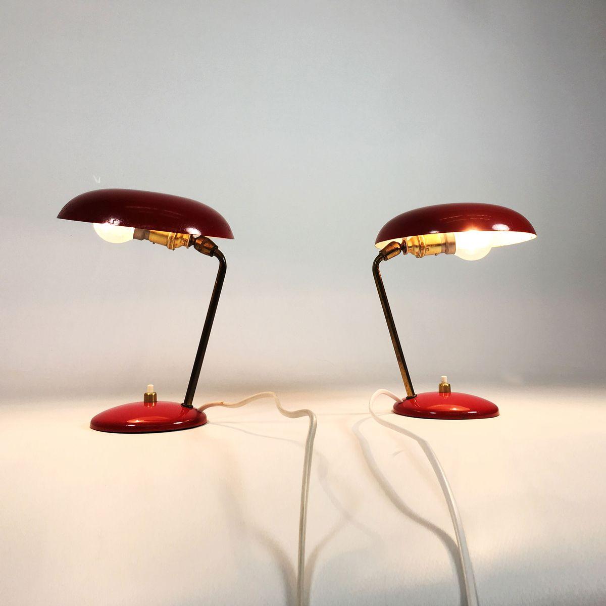 Rote franz sische lampen 1950er 2er set bei pamono kaufen for Lampen niederlande