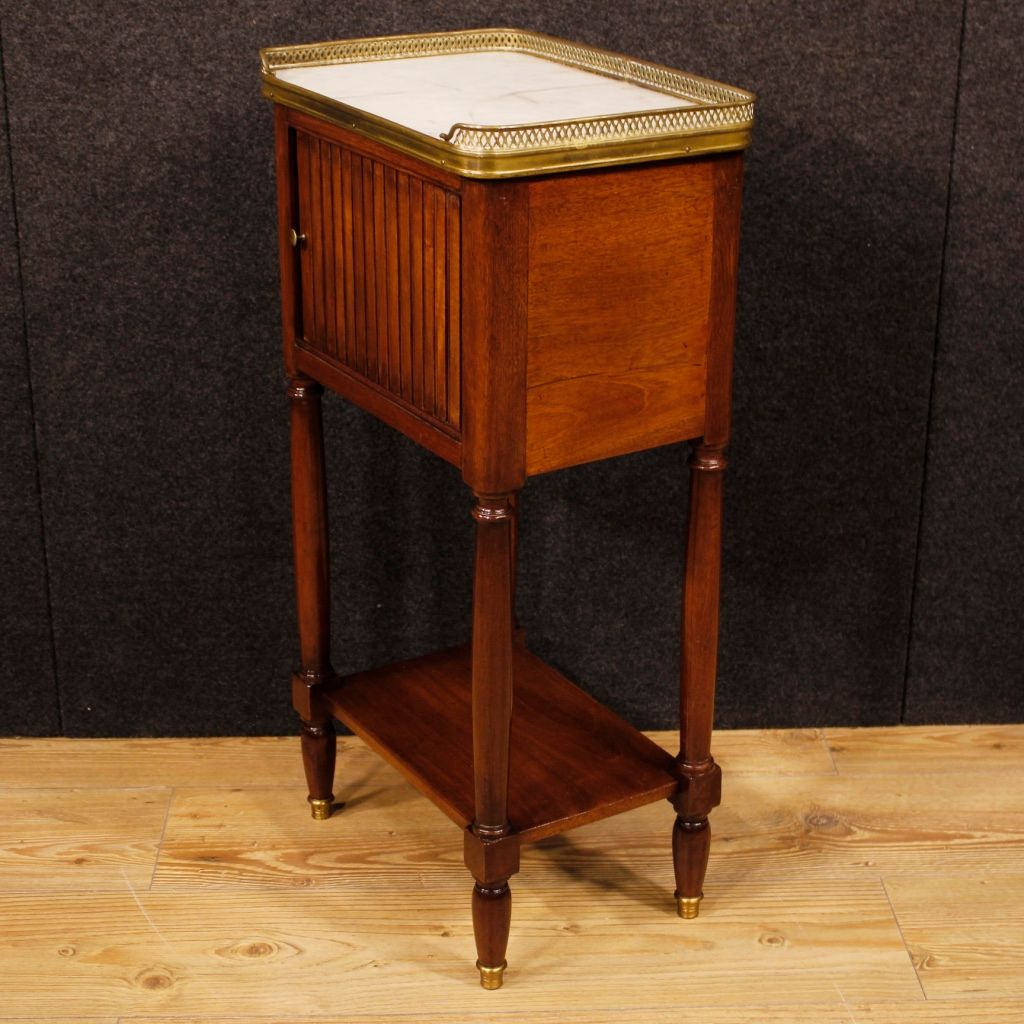 French Mahogany Night Stand With Marble Top 1920s For