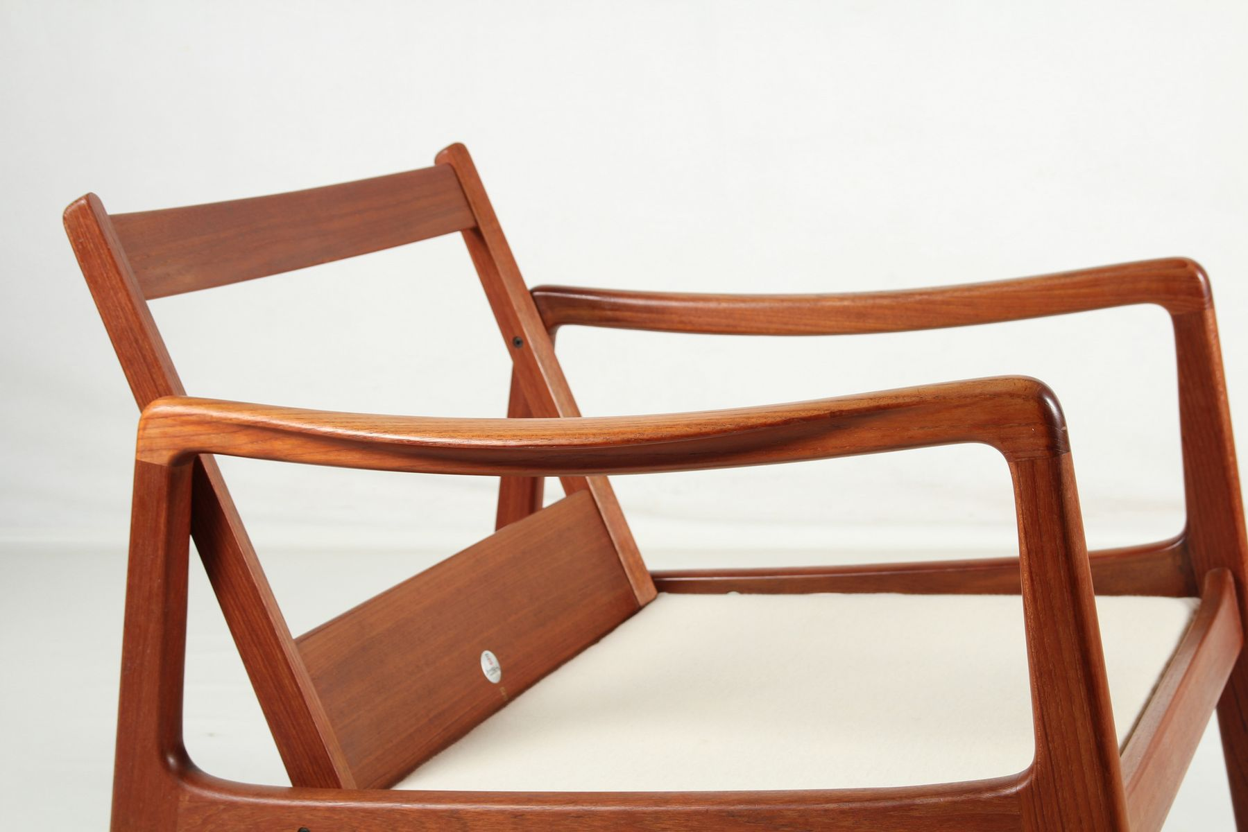 Mid-Century Teak & Cowhide Rocking Chair by Ole Wanscher for France ...