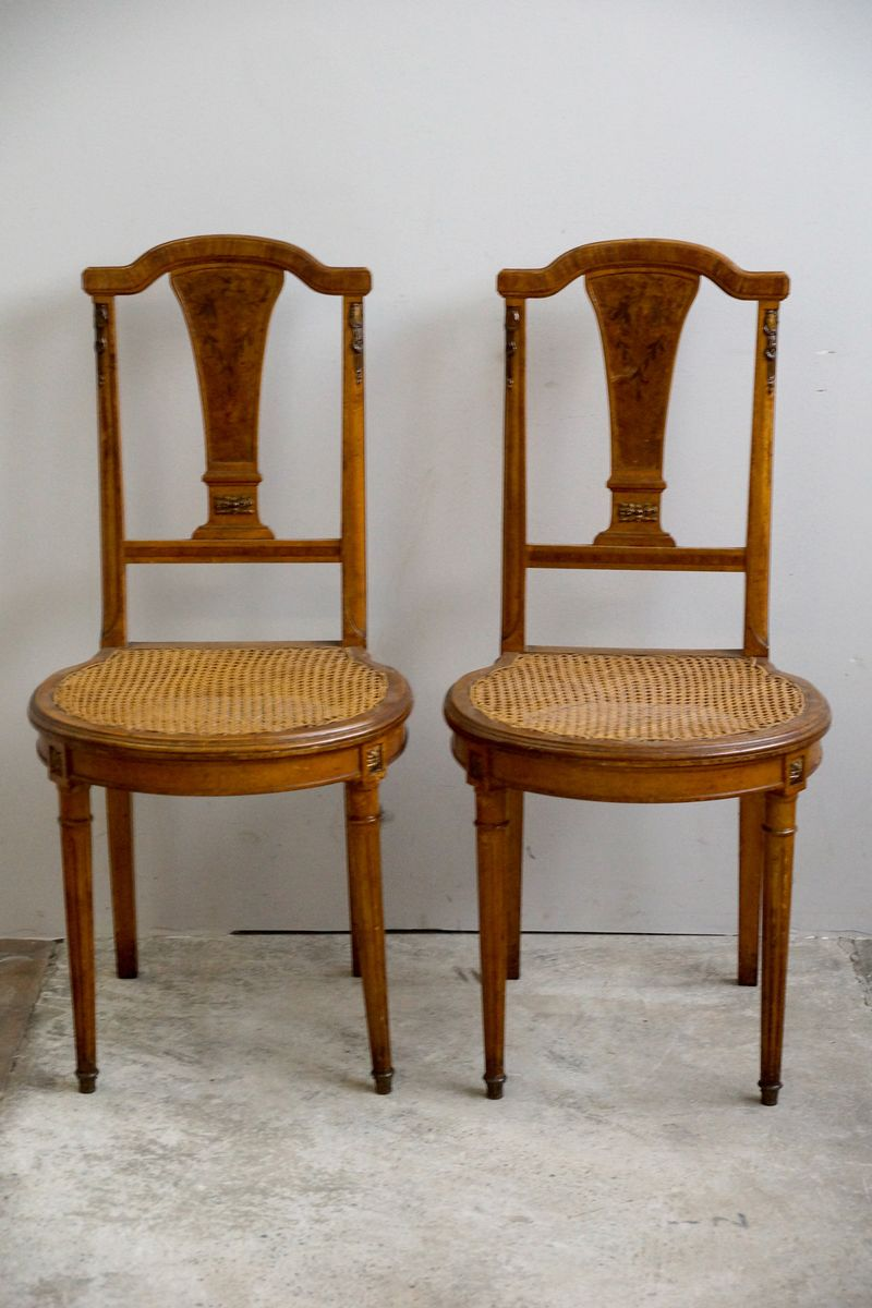 Antique french chair - Antique French Dining Chairs With Floral Inlay Set Of 2