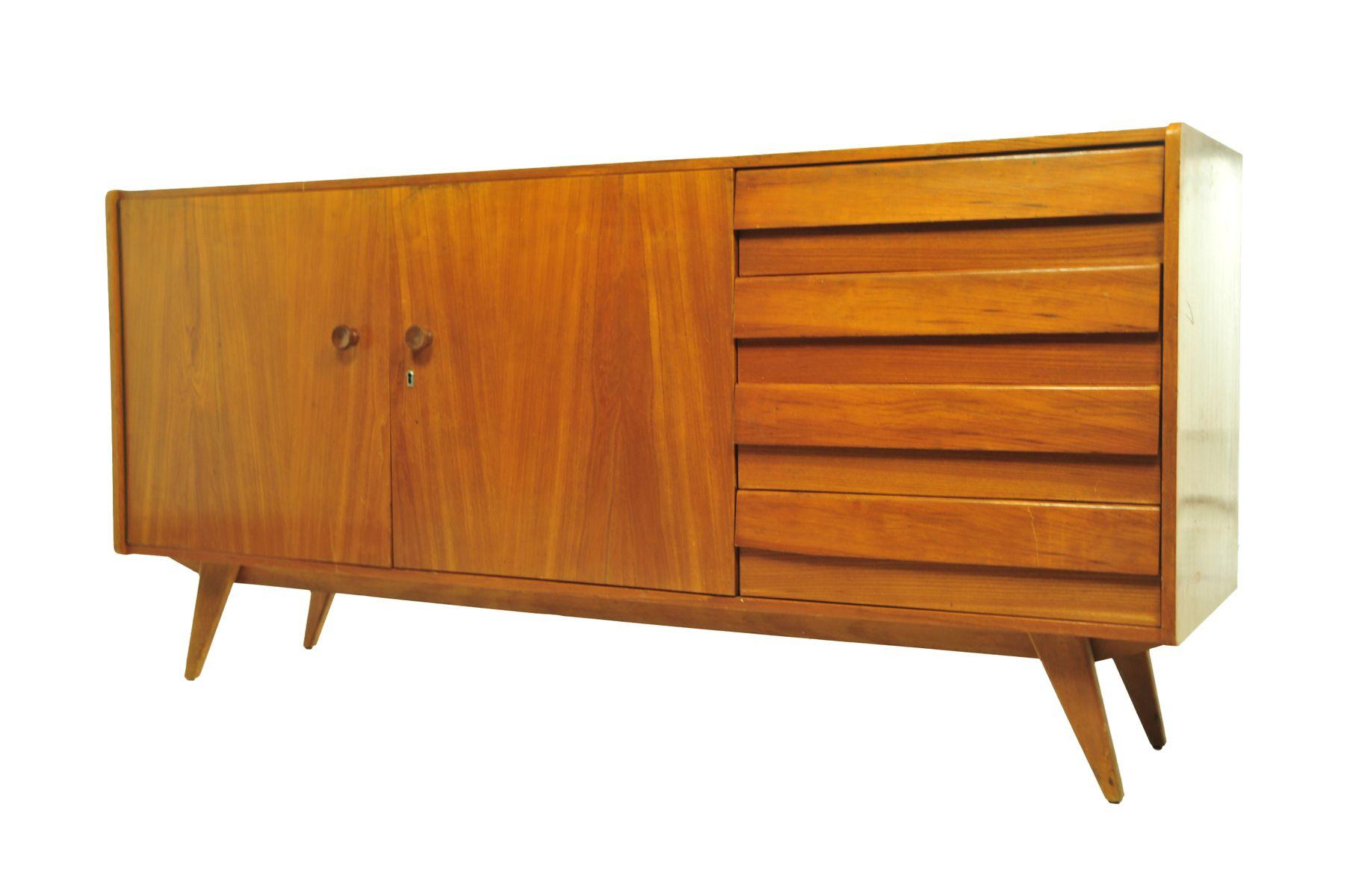 teak sideboard mit schubladen und konischen beinen 1960er bei pamono kaufen. Black Bedroom Furniture Sets. Home Design Ideas