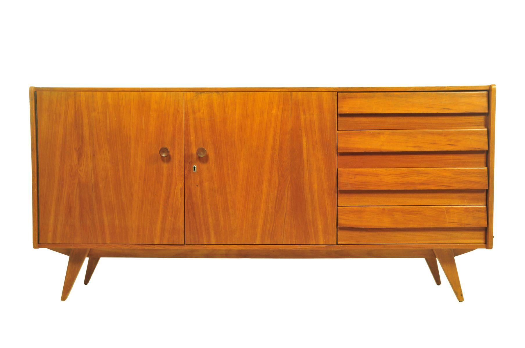teak sideboard mit schubladen und konischen beinen 1960er. Black Bedroom Furniture Sets. Home Design Ideas
