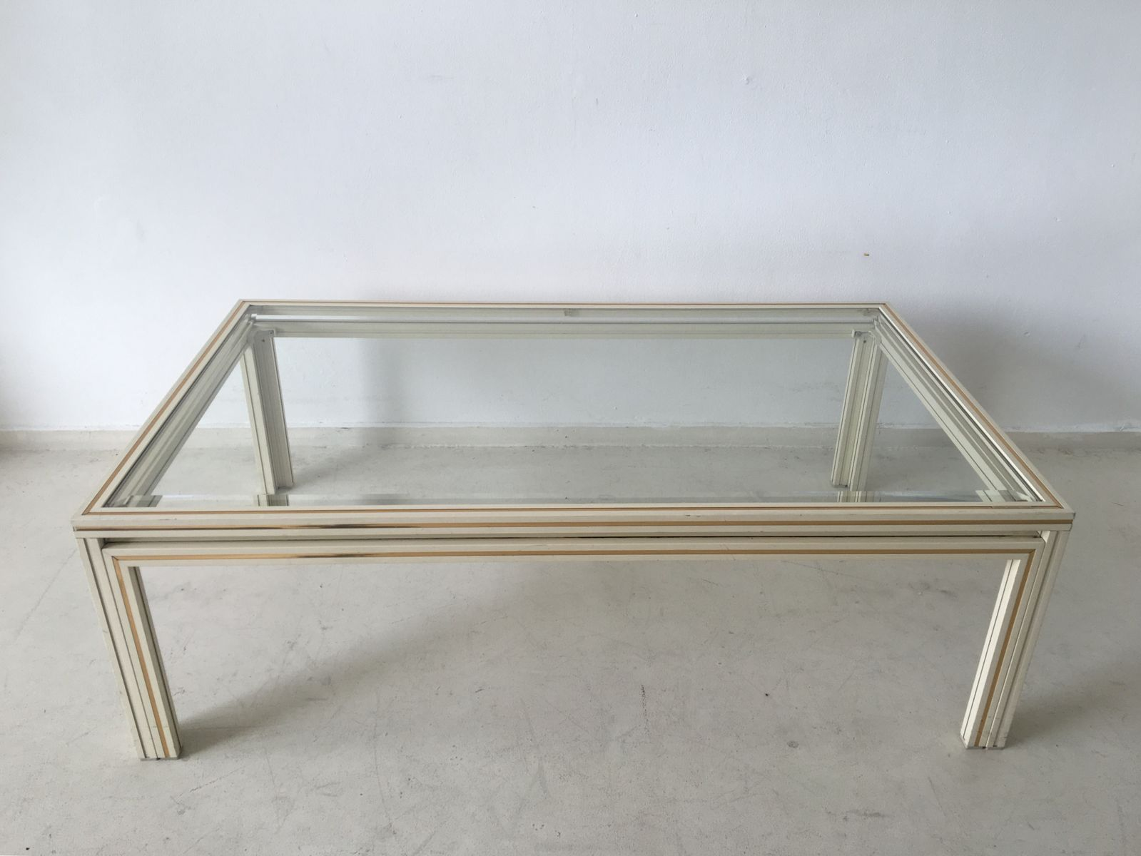 Vintage Parisian Rectangular Glass Coffee Table 1970s for sale at