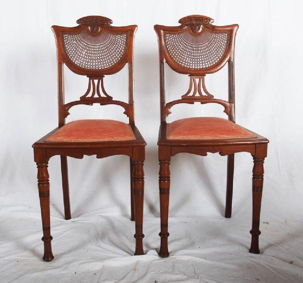franz sische jugendstil nussholz st hle 1900er 2er set. Black Bedroom Furniture Sets. Home Design Ideas